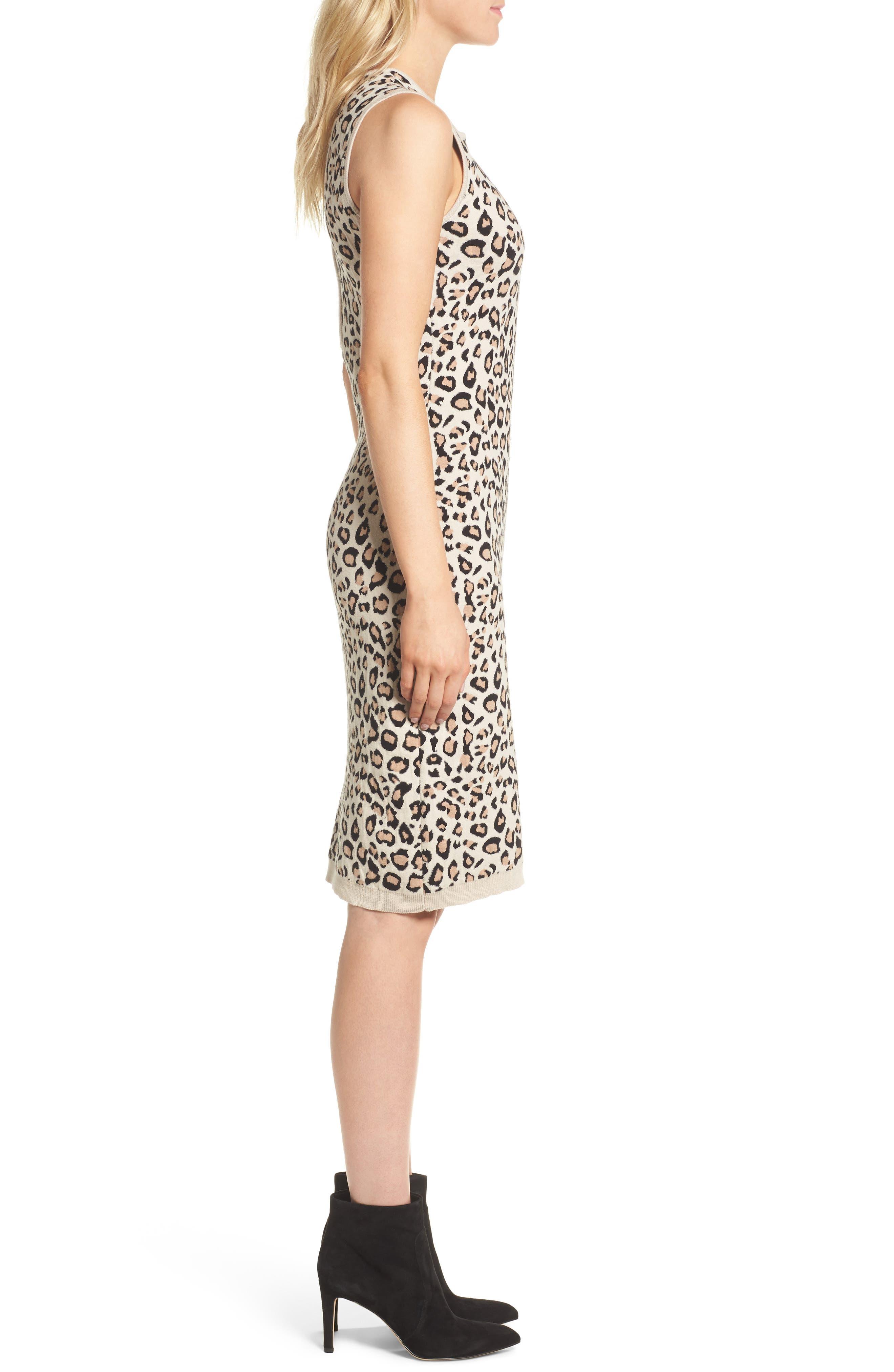 Sutter Body-Con Dress,                             Alternate thumbnail 3, color,                             Leopard