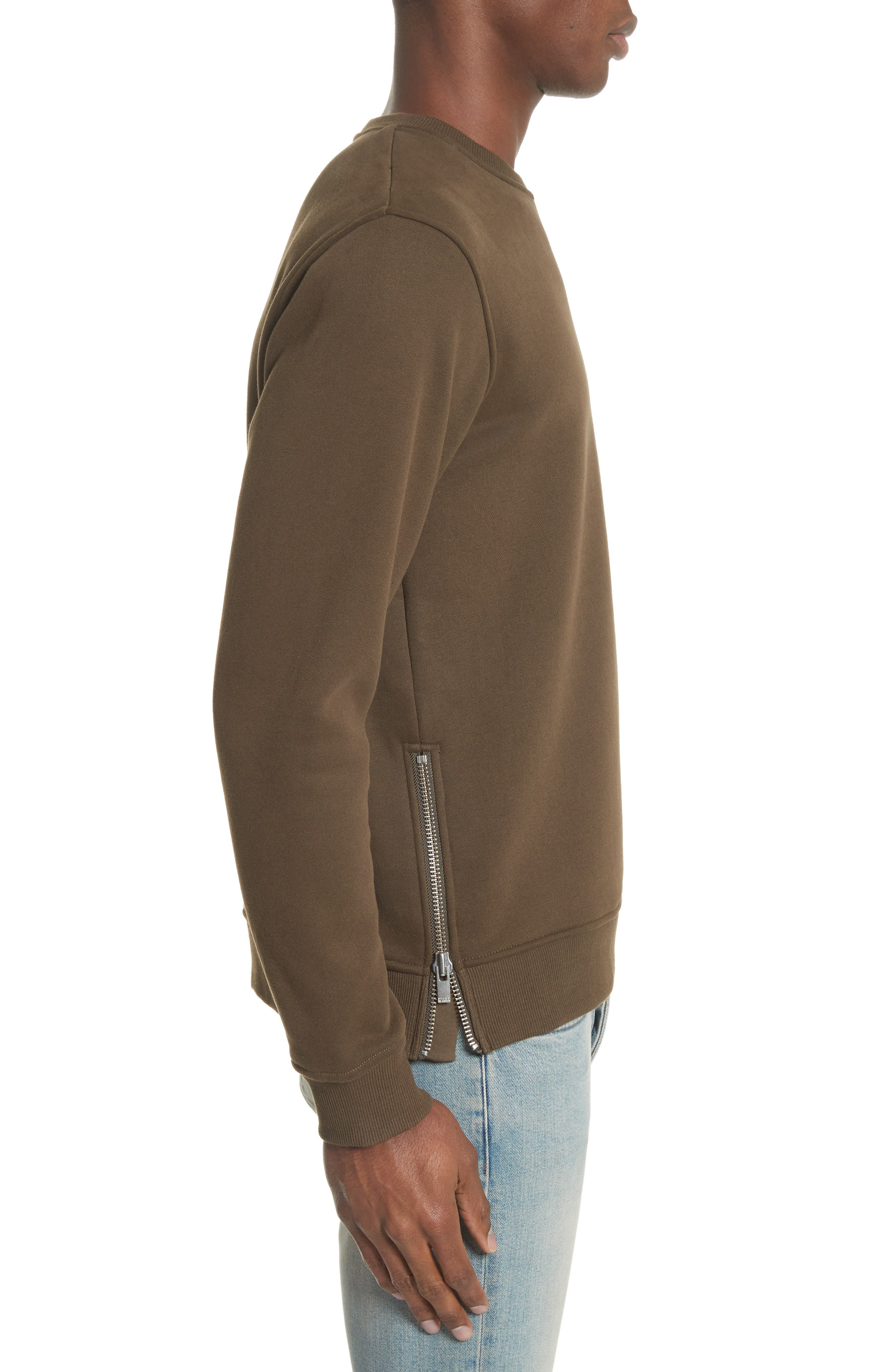 Crewneck Cotton Sweater,                             Alternate thumbnail 4, color,                             Khaki