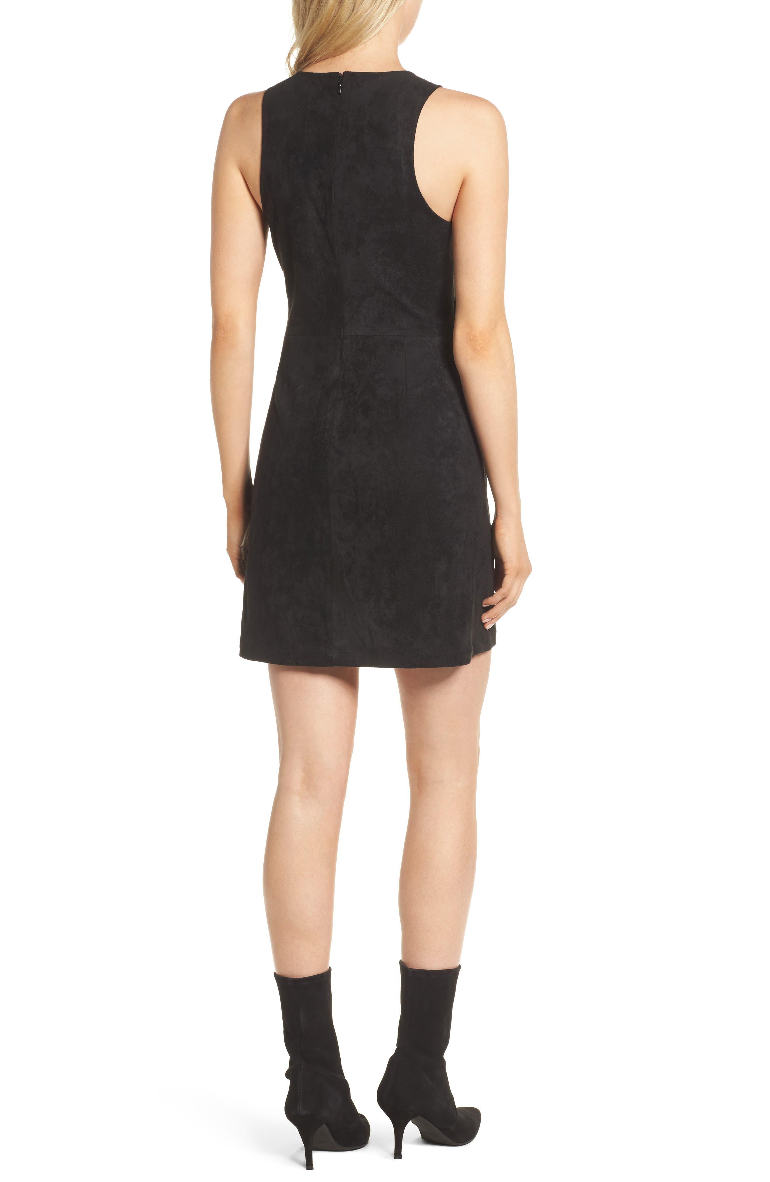 Valet Embroidered Minidress,                             Alternate thumbnail 2, color,                             Black