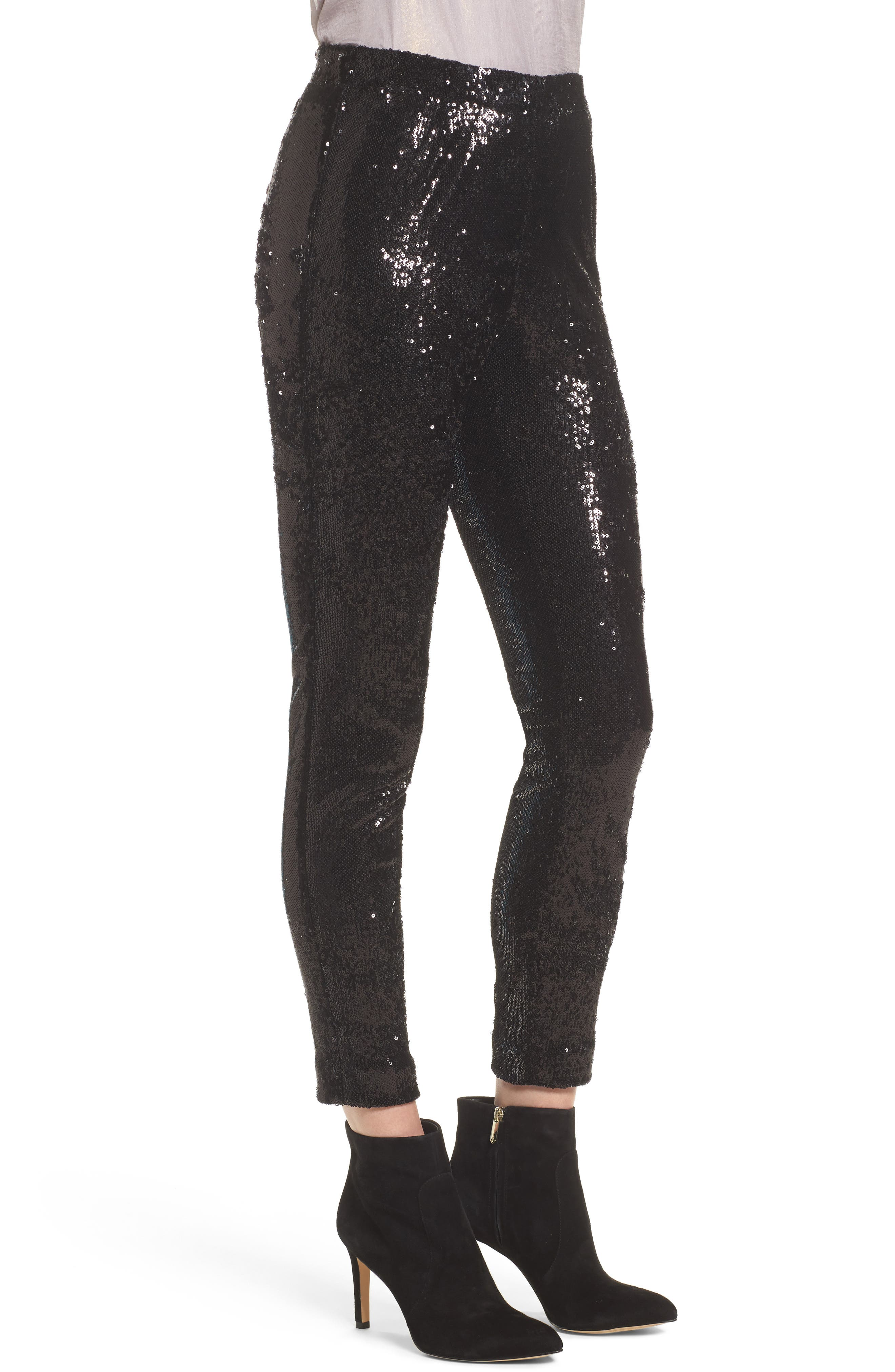 Glendora Sequin Crop Pants,                             Alternate thumbnail 3, color,                             Black