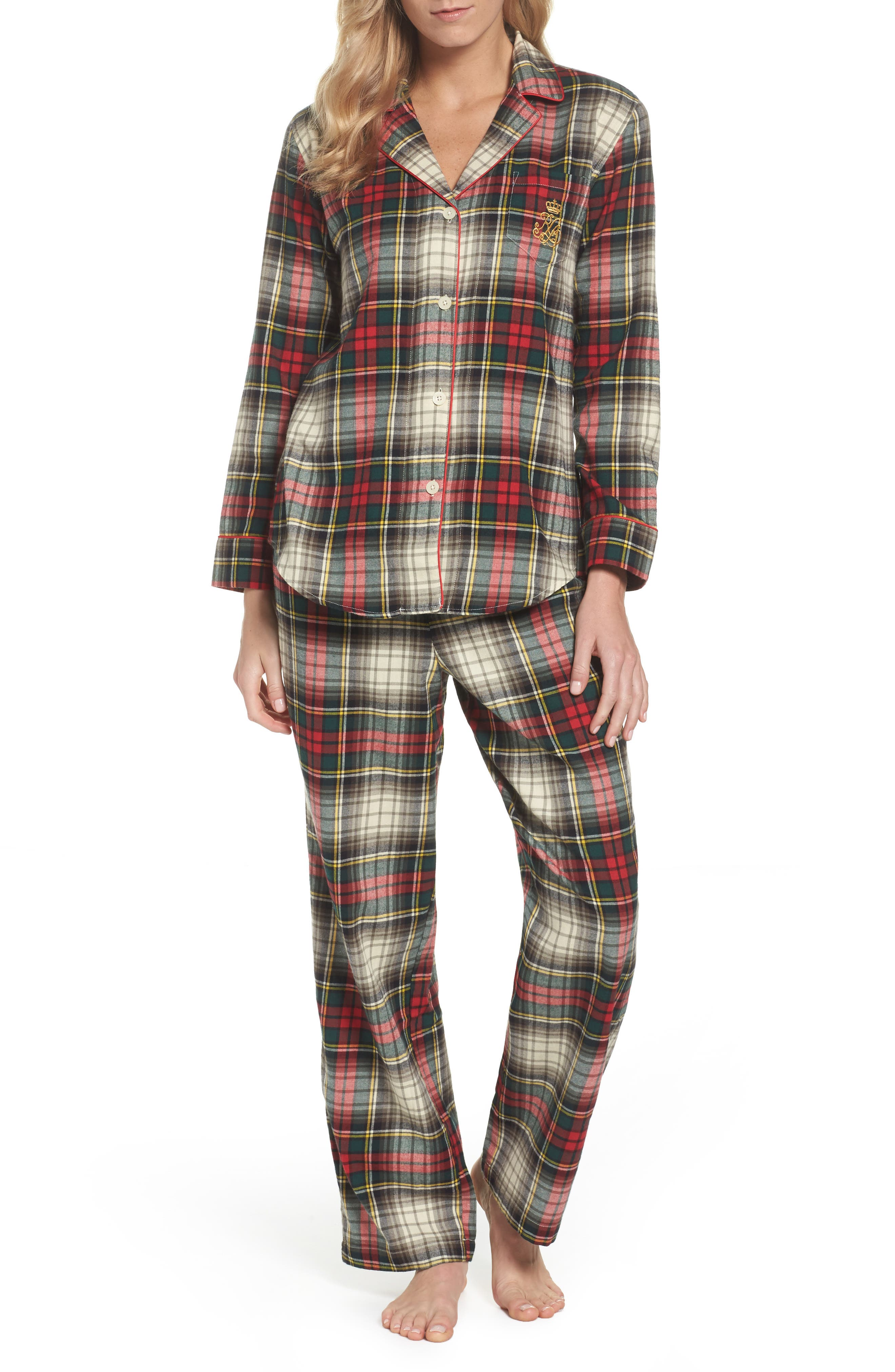 Cotton Pajamas,                             Main thumbnail 1, color,                             Ivory Plaid