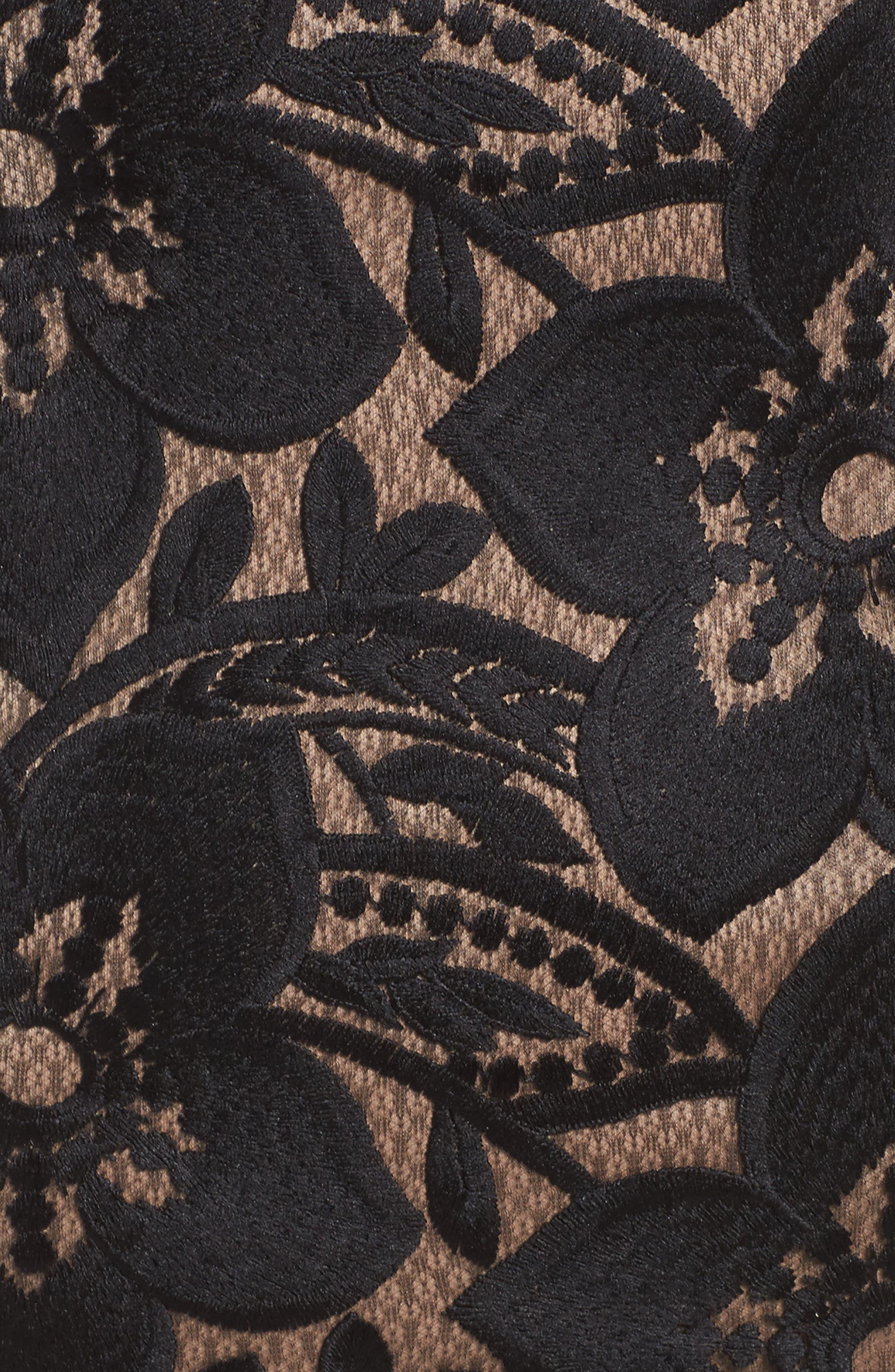 Lace Sheath Dress,                             Alternate thumbnail 5, color,                             Black