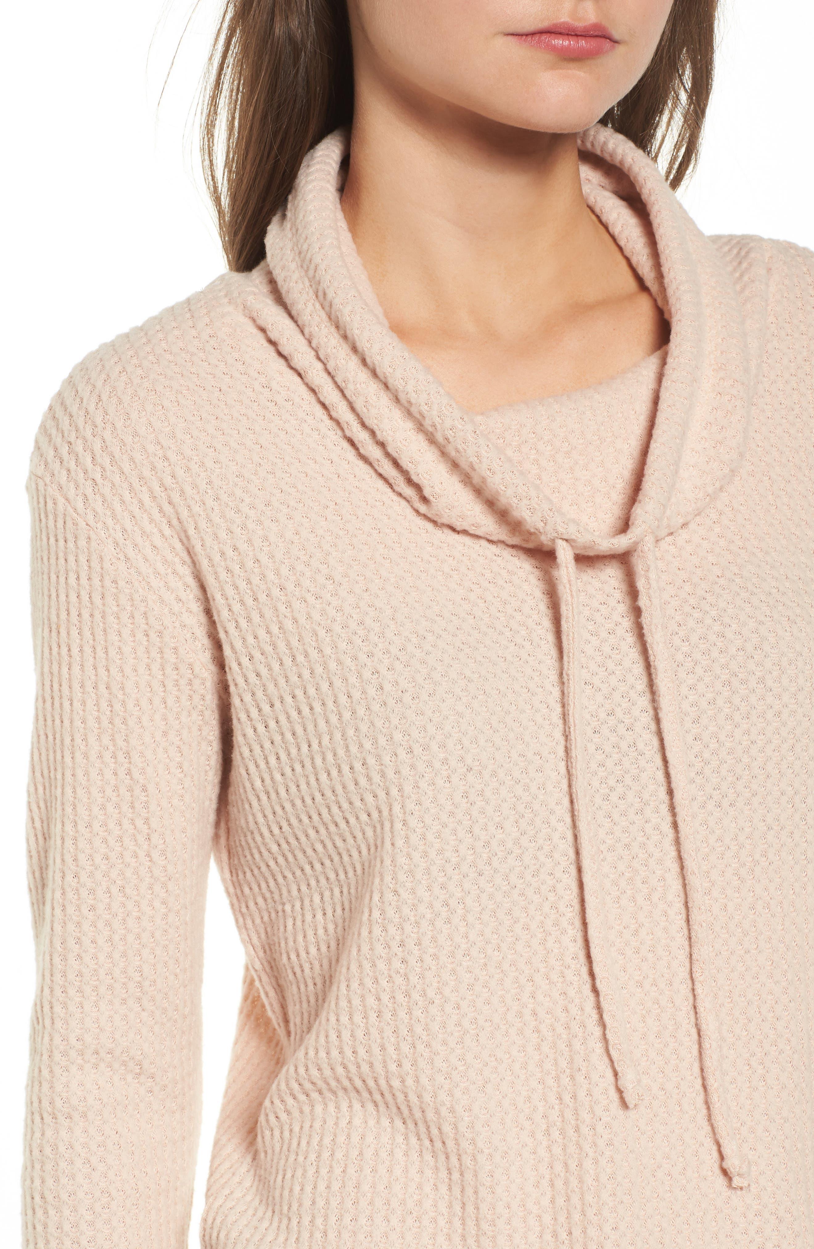 Alternate Image 4  - Socialite Cowl Neck Waffle Knit Top