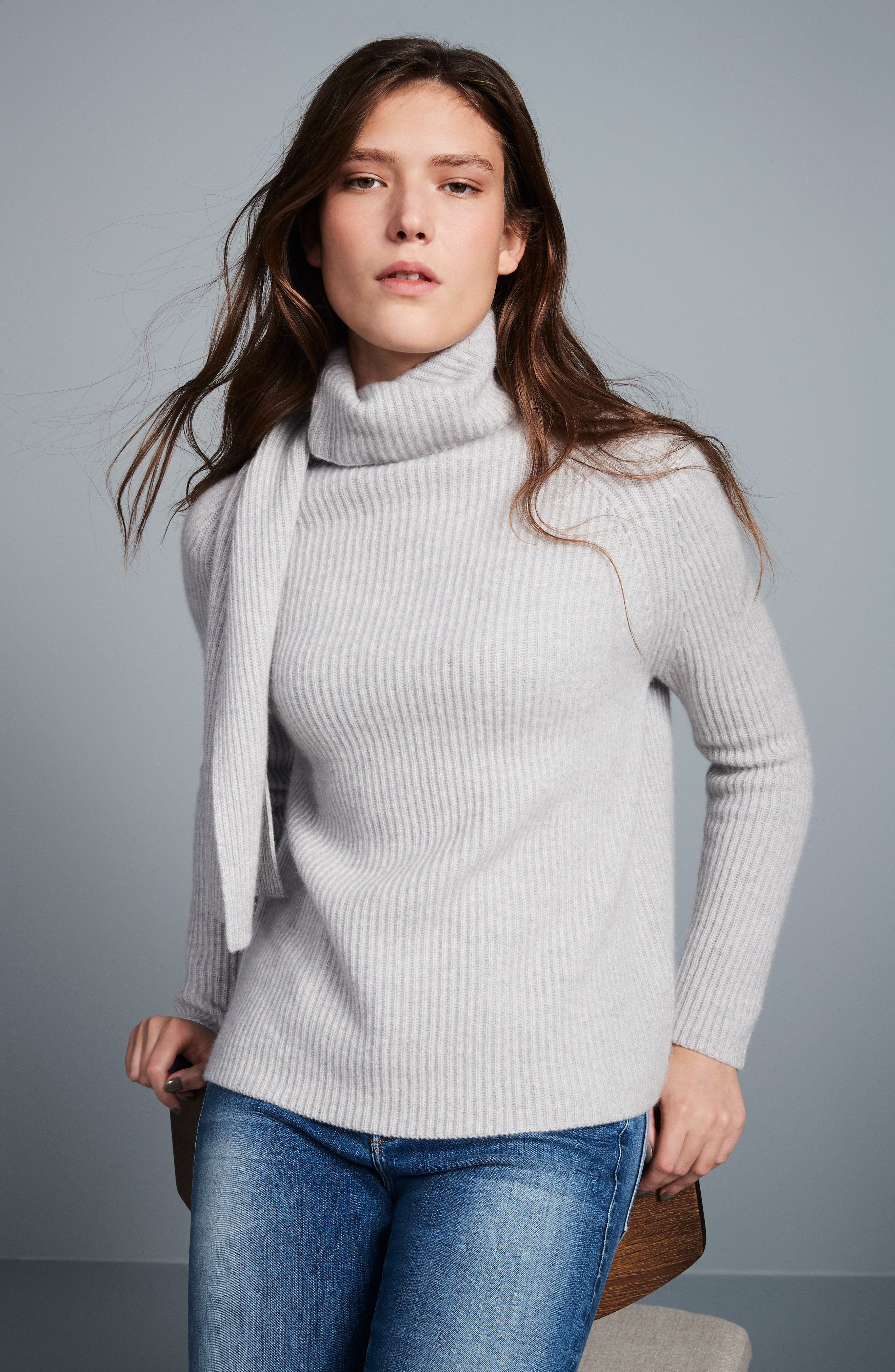 Scarf Neck Cashmere Sweater,                             Alternate thumbnail 7, color,