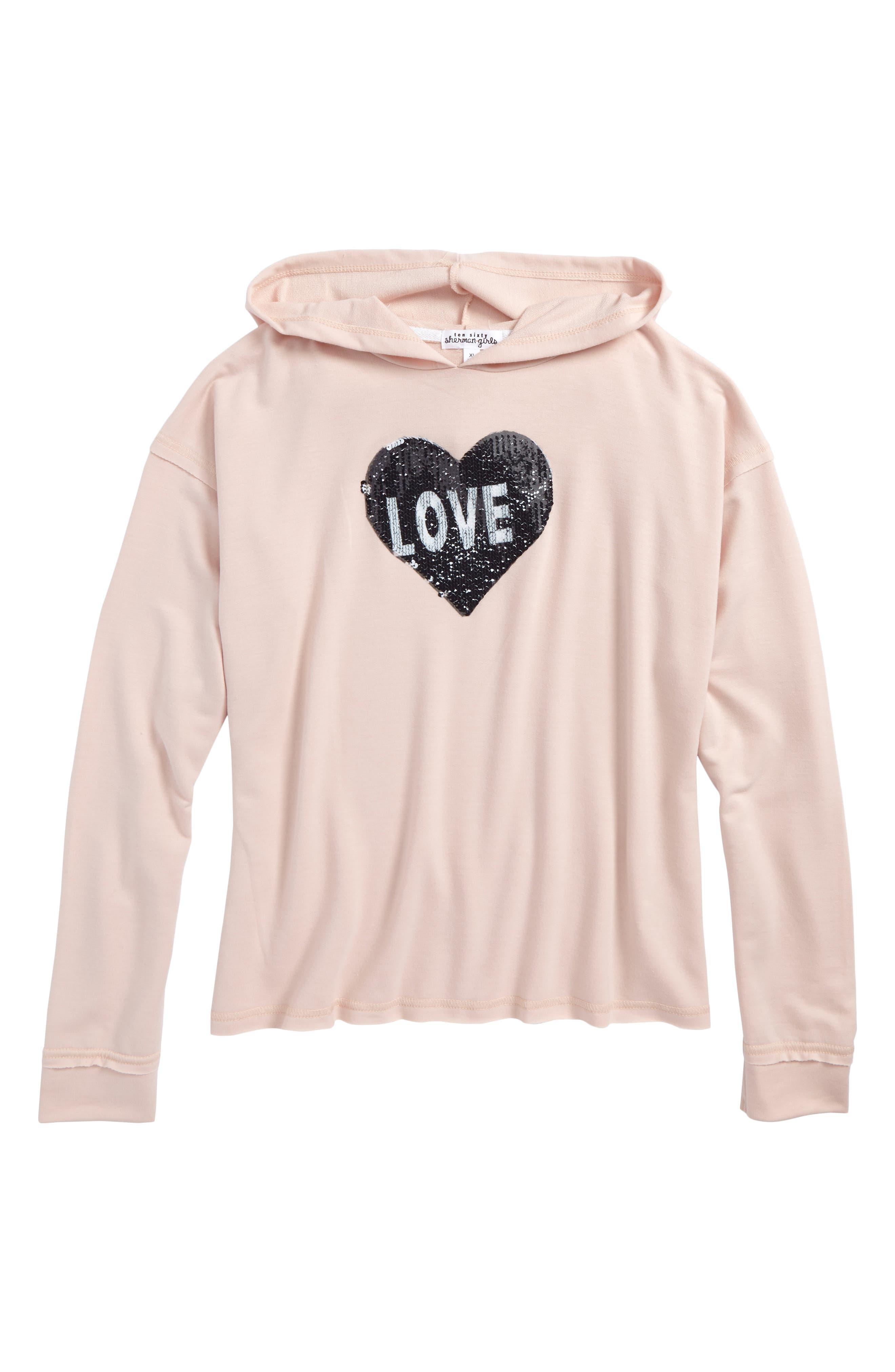 Love Ya Heart Flipper Hoodie,                         Main,                         color, Blush