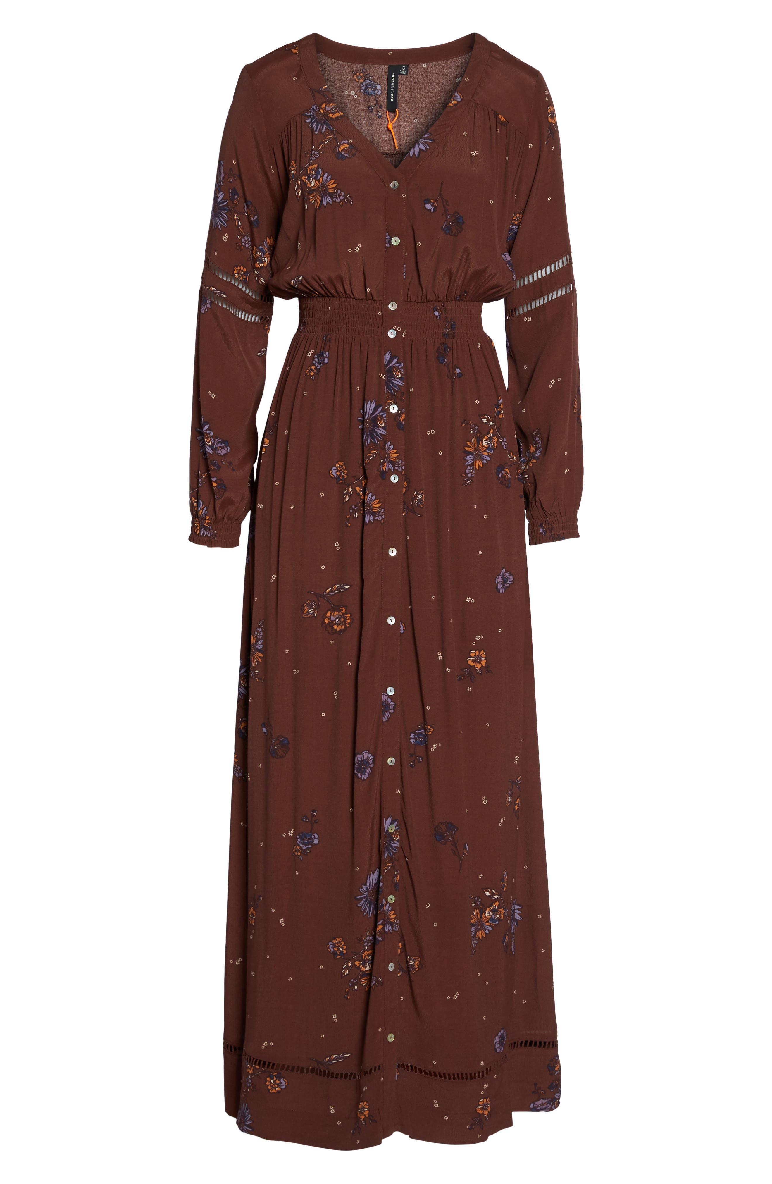 Jenny Maxi Dress,                             Alternate thumbnail 6, color,                             Dark Chocolate Pansies