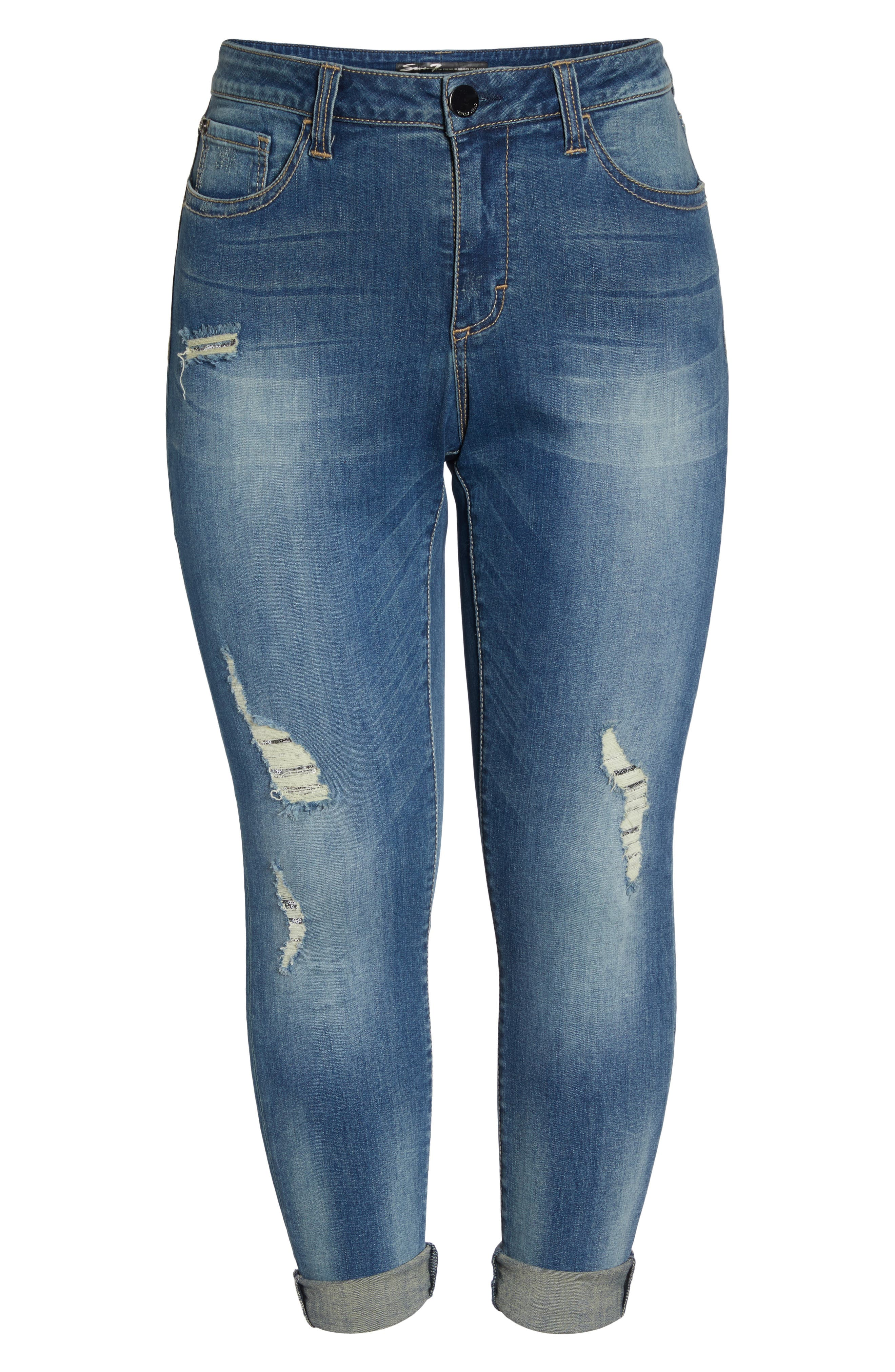 Alternate Image 6  - Seven7 Ripped & Embellished Skinny Jeans (Banks) (Plus Size)