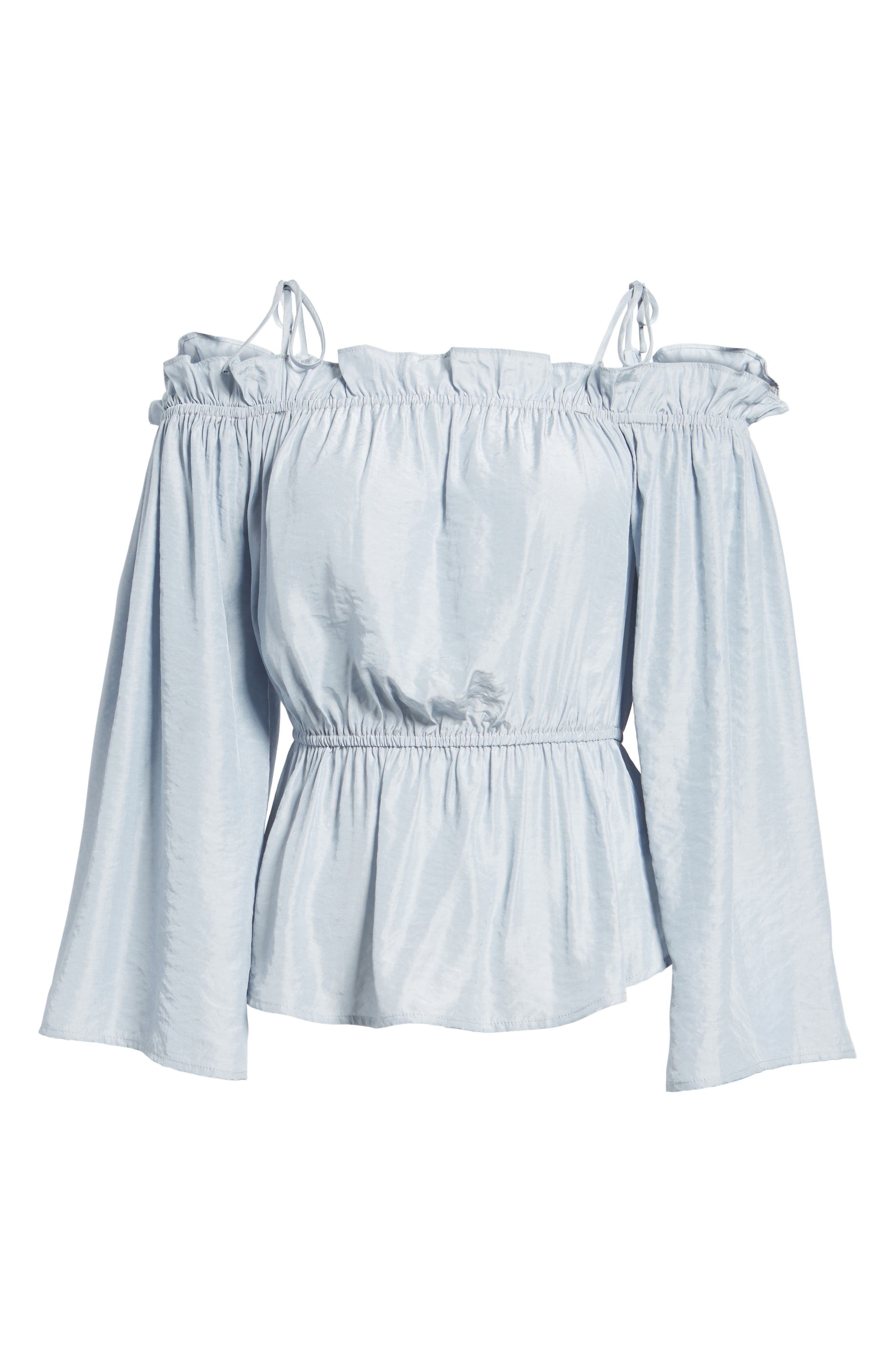 Off the Shoulder Bell Sleeve Blouse,                             Alternate thumbnail 6, color,                             Blue Ice