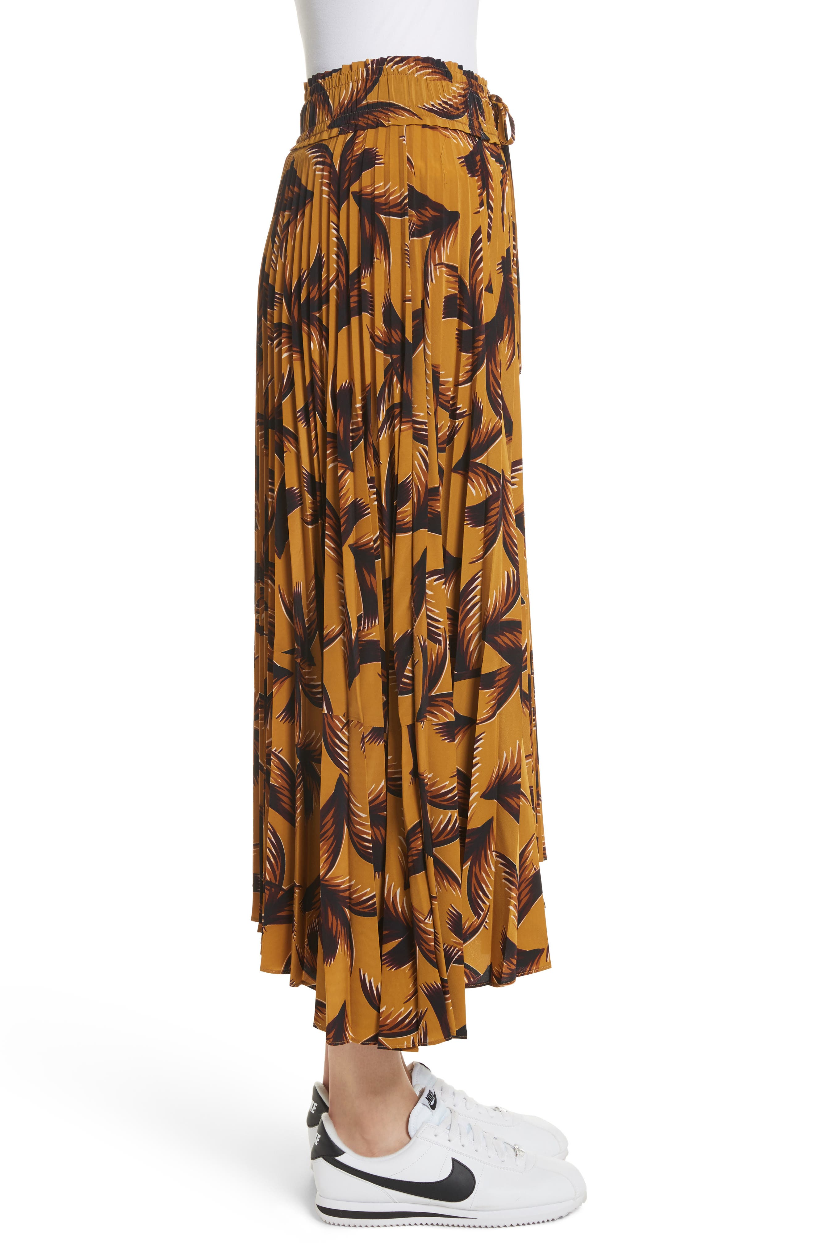 Maya Pleated A-Line Skirt,                             Alternate thumbnail 4, color,                             Gold