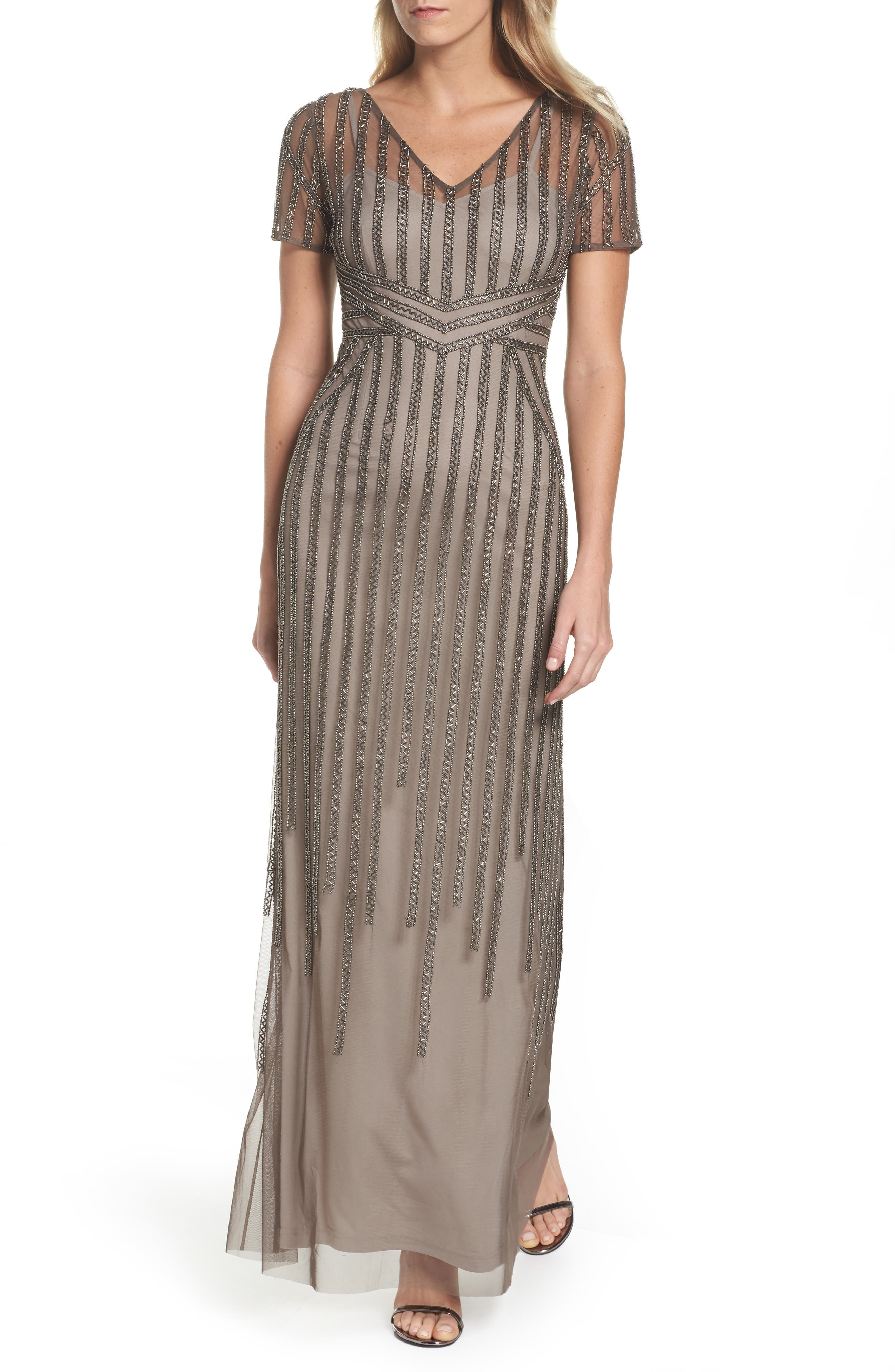 Beaded Mesh Gown,                         Main,                         color, Lead