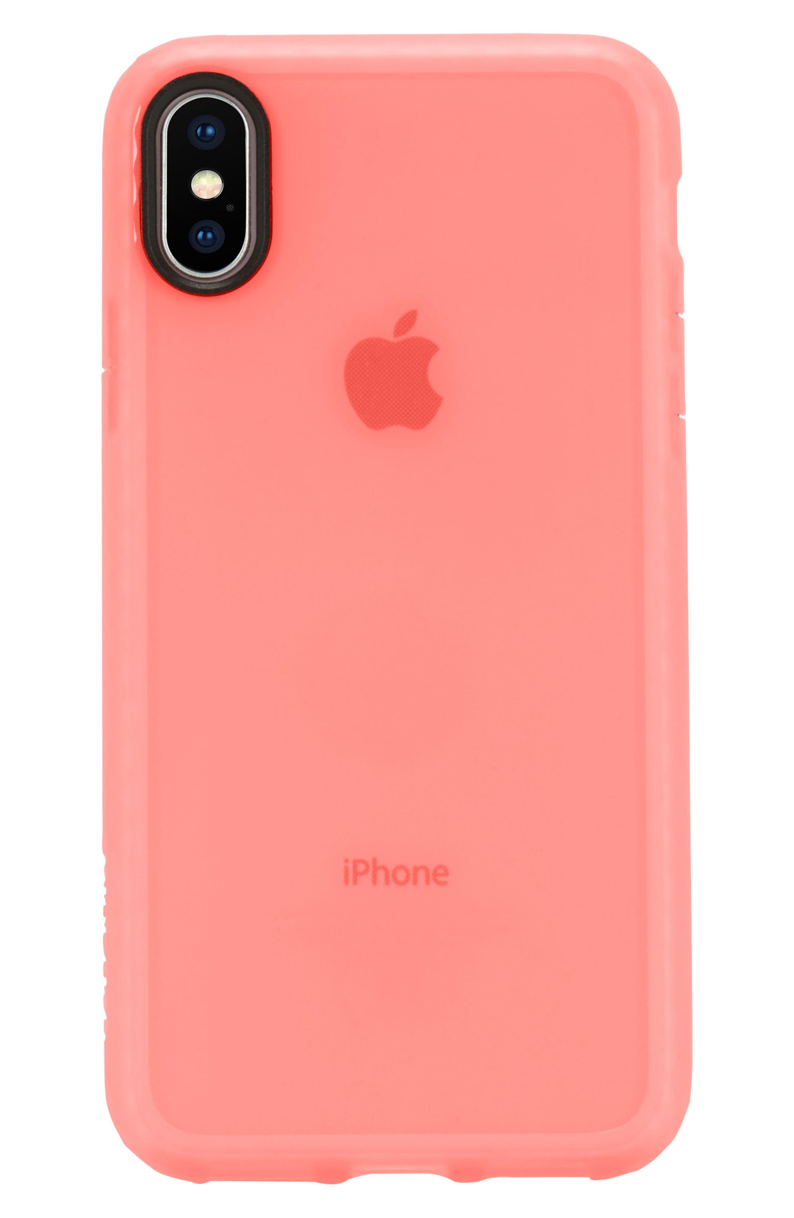 Protective Lattice iPhone X Case,                         Main,                         color, Coral