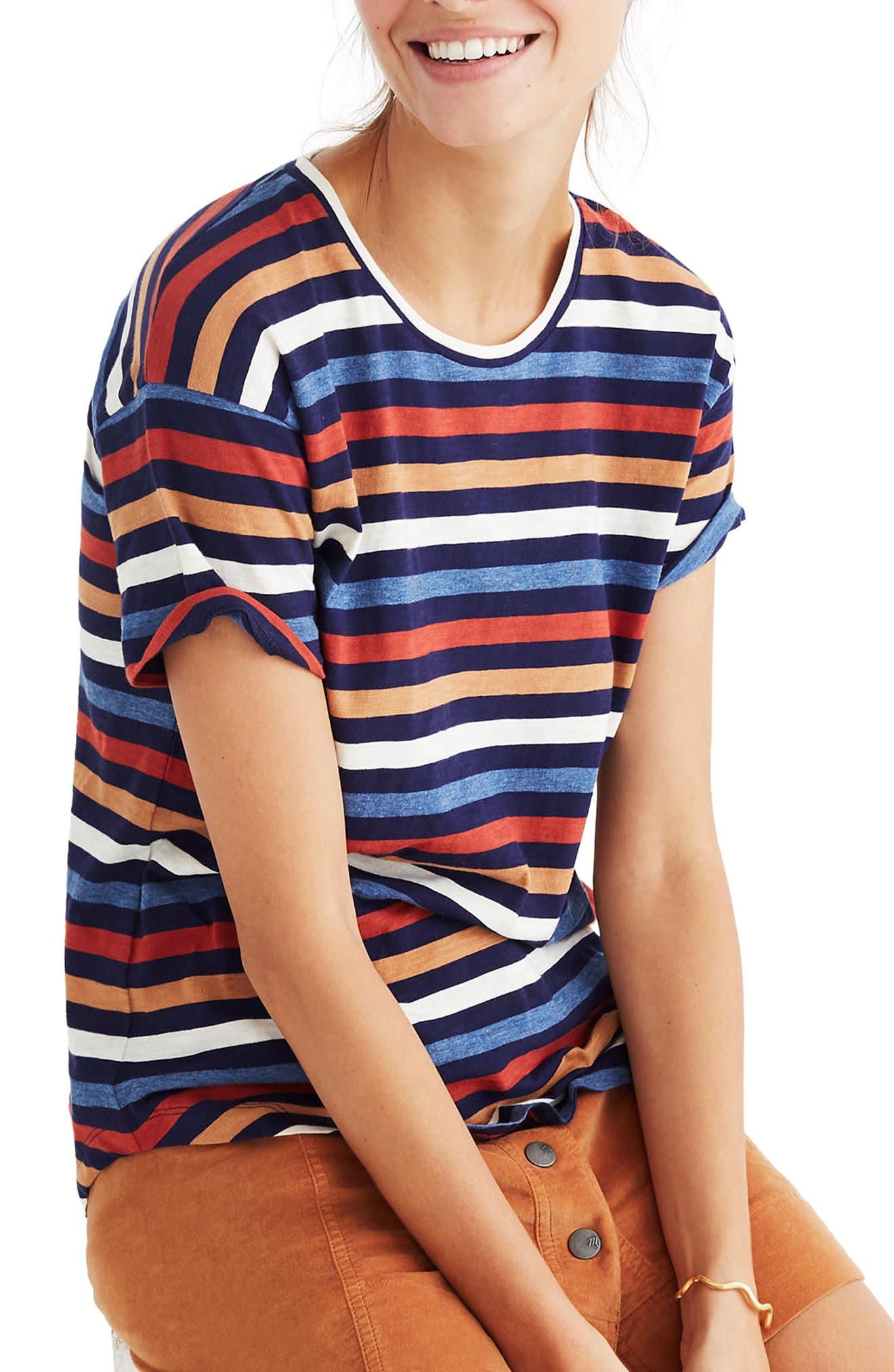 Whisper Cotton Stripe Tee,                         Main,                         color, Nightfall
