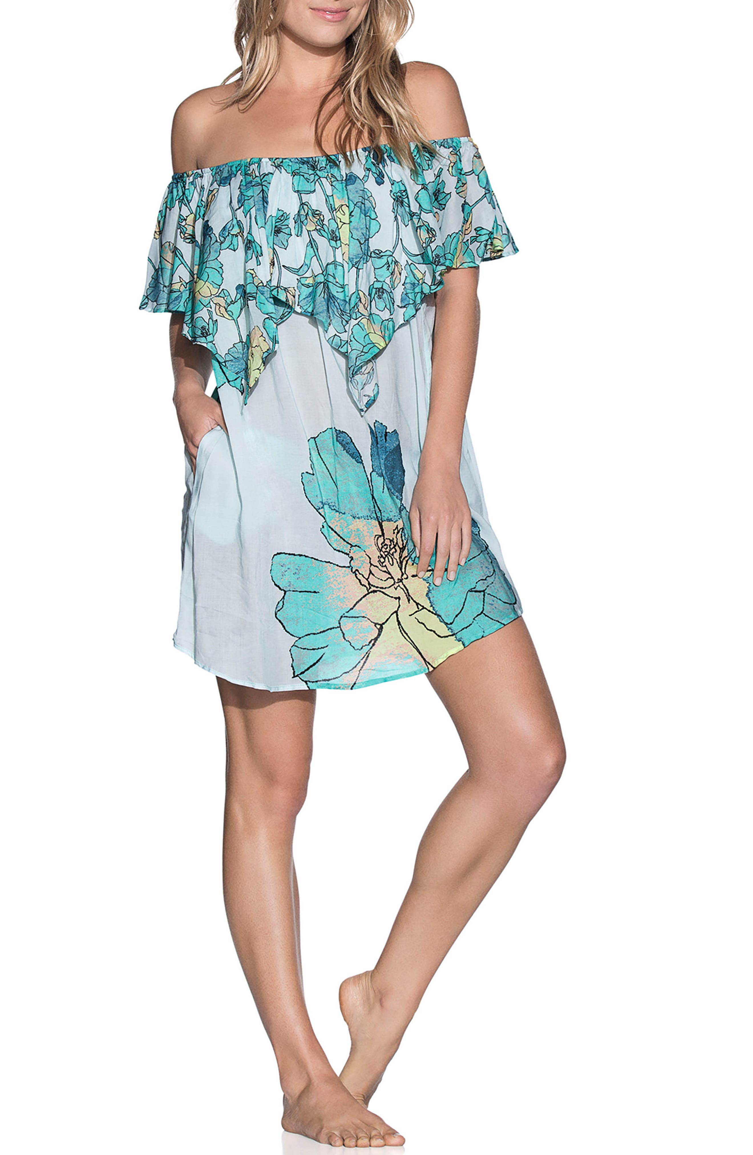 Laughing Leaves Cover-Up Dress,                             Main thumbnail 1, color,                             Teal Multi