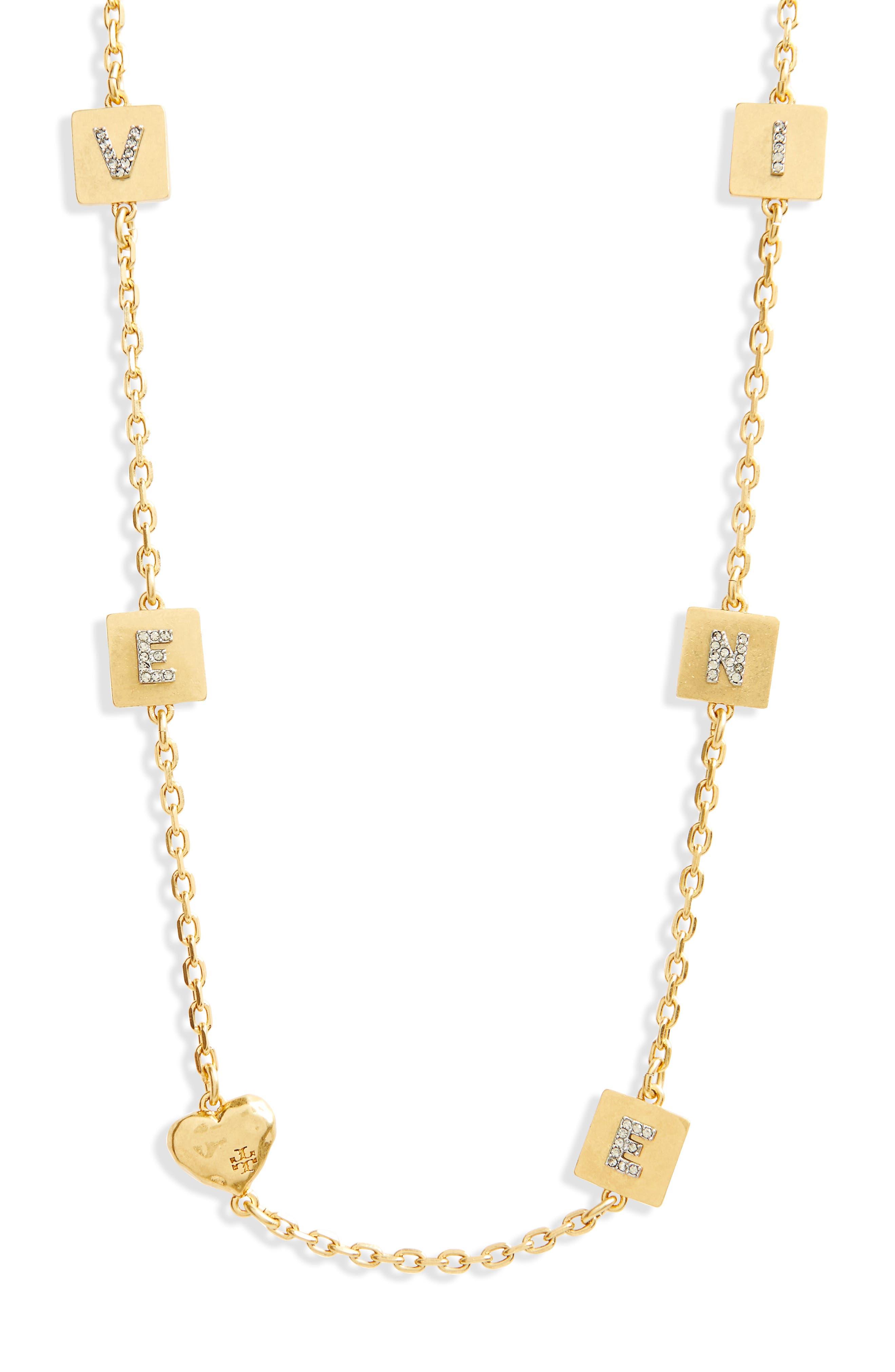 Love & Divine Message Necklace,                             Alternate thumbnail 2, color,                             Vintage Gold