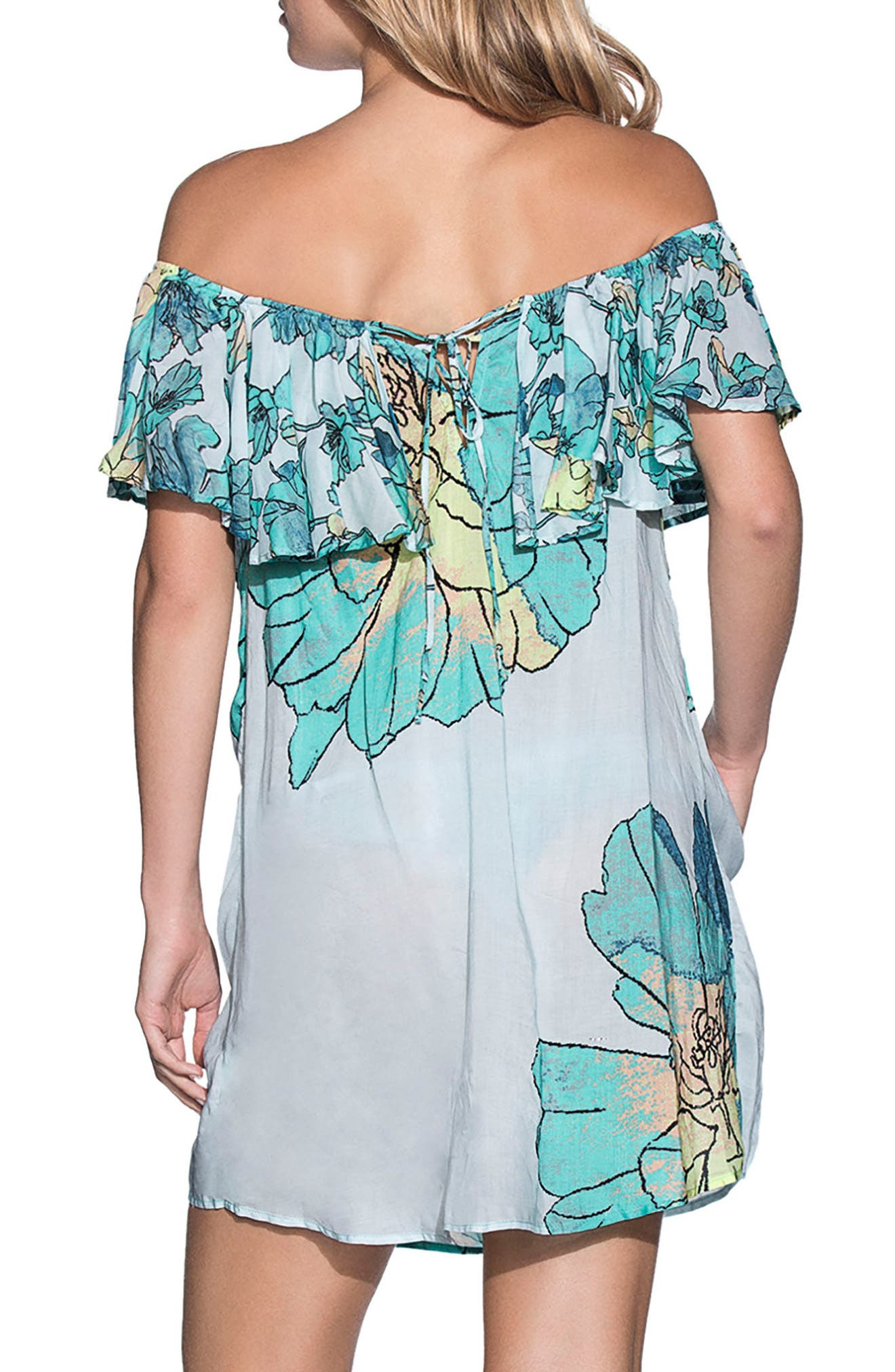Laughing Leaves Cover-Up Dress,                             Alternate thumbnail 2, color,                             Teal Multi