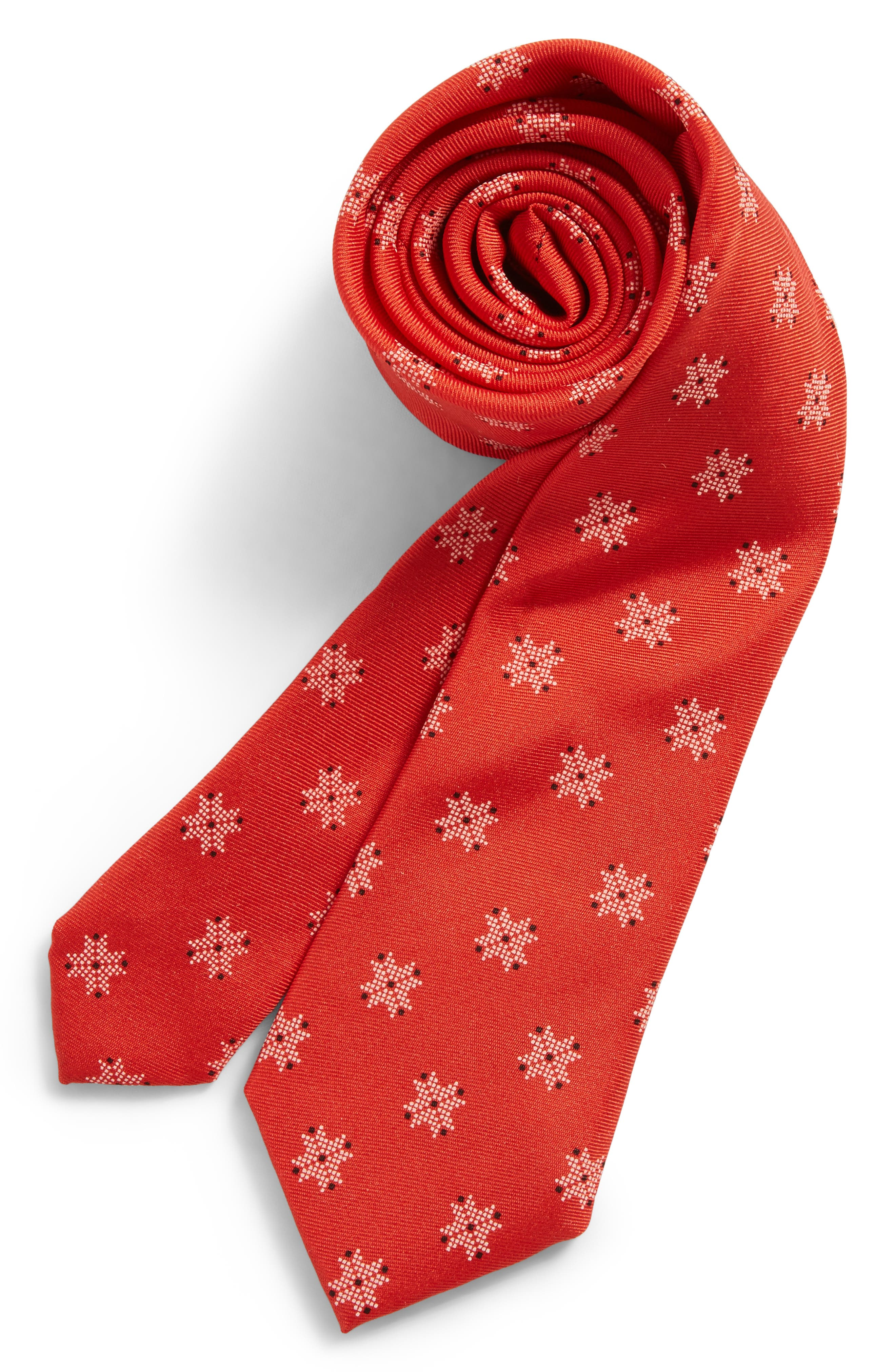 Patterned Silk Tie,                         Main,                         color, Red
