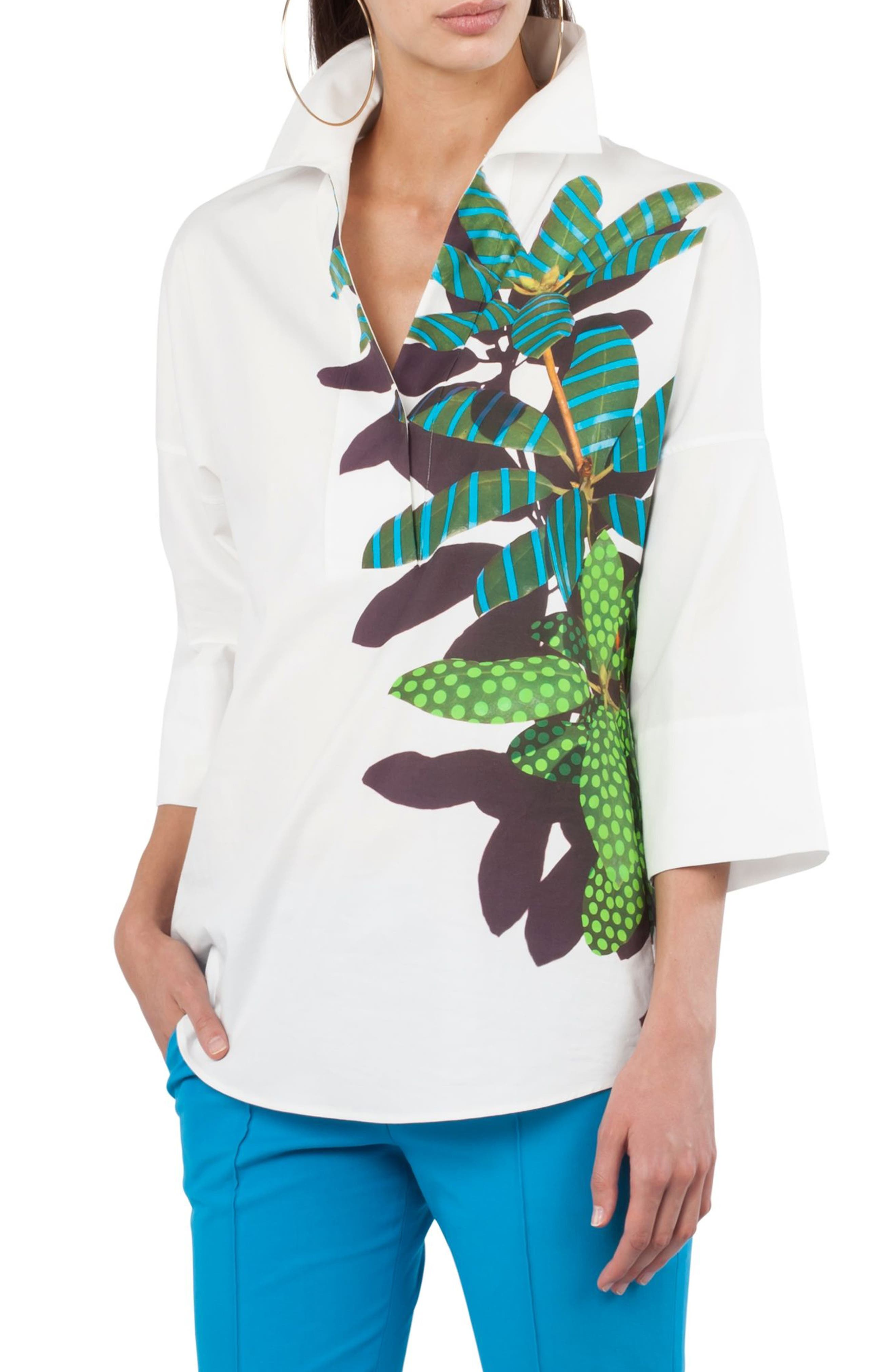 Tropical Print Kimono Blouse,                             Main thumbnail 1, color,                             Cream Multi