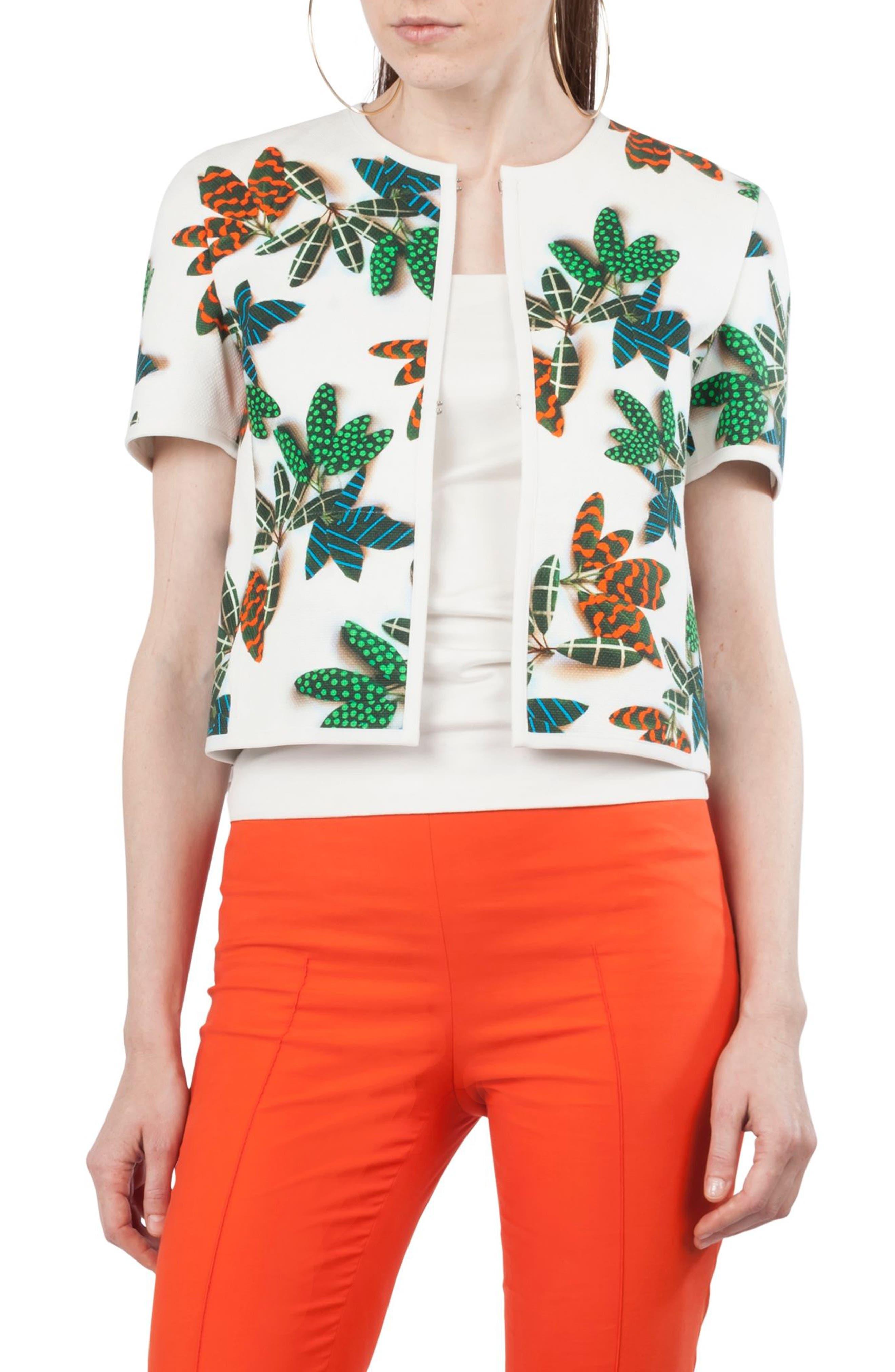 Tropical Print Cap Sleeve Jacket,                         Main,                         color, Cream Multi