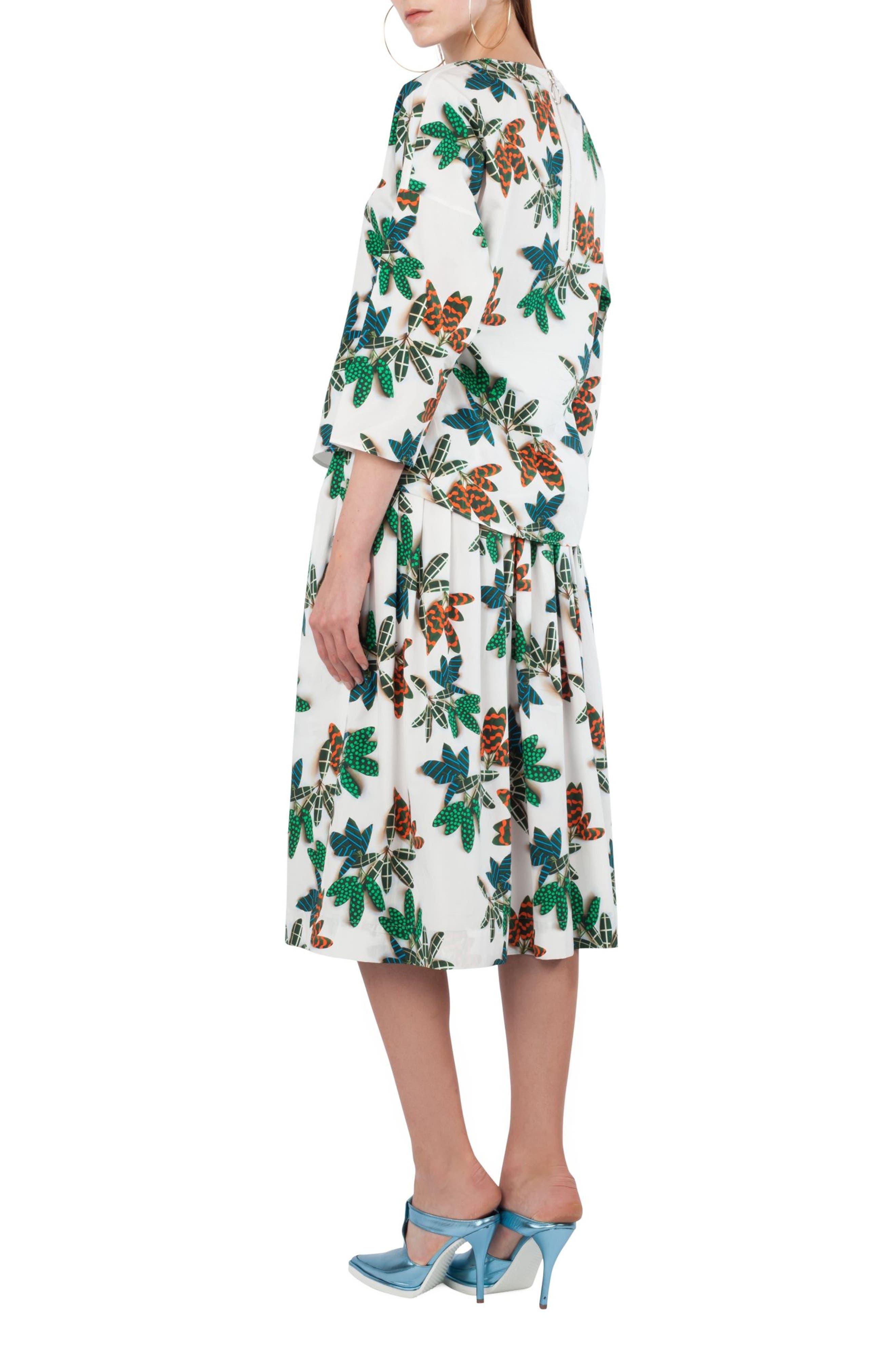 Alternate Image 4  - Akris punto Tropical Print Cotton Midi Skirt