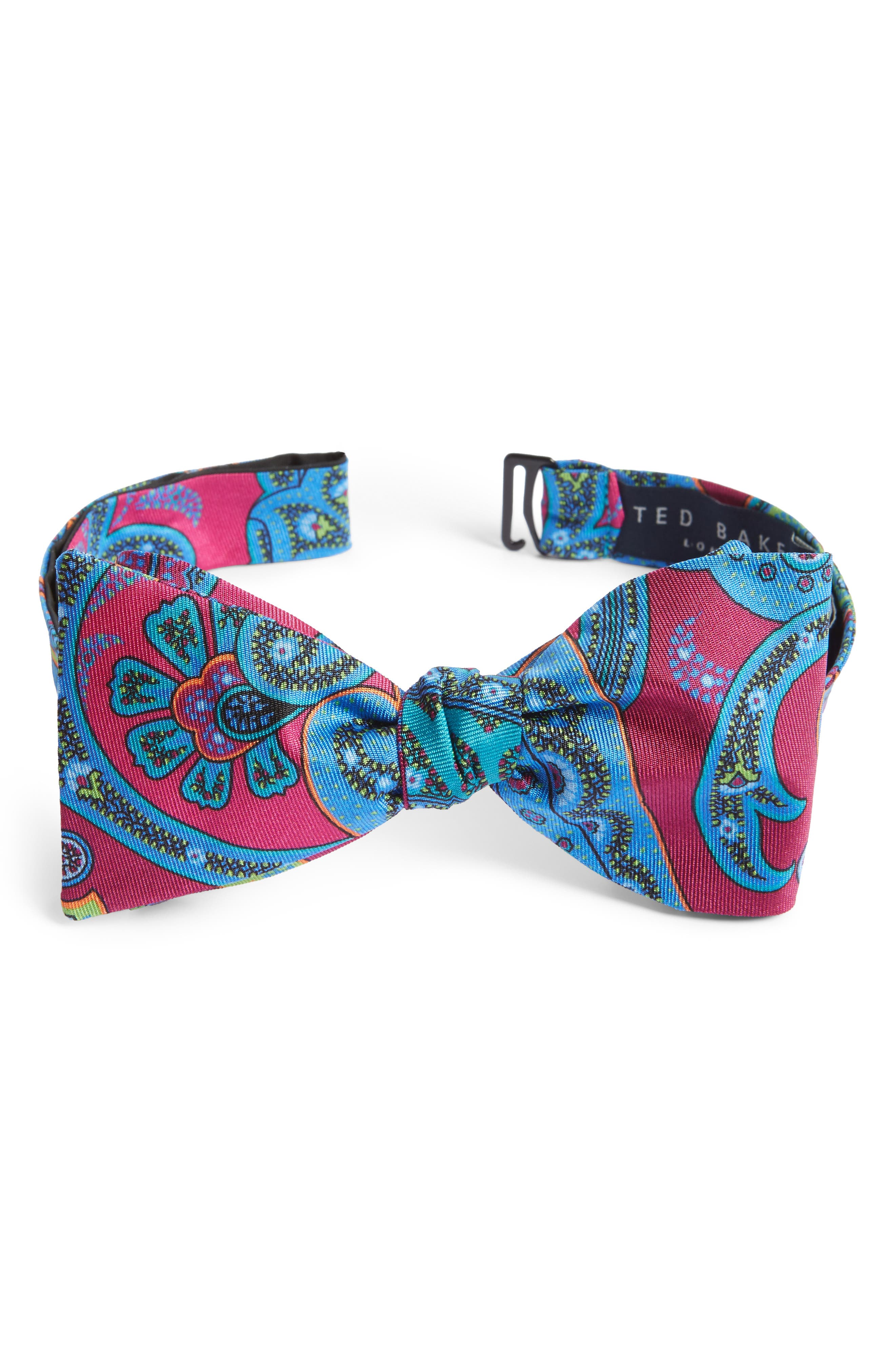 Paisley Silk Bow Tie,                         Main,                         color, Pink