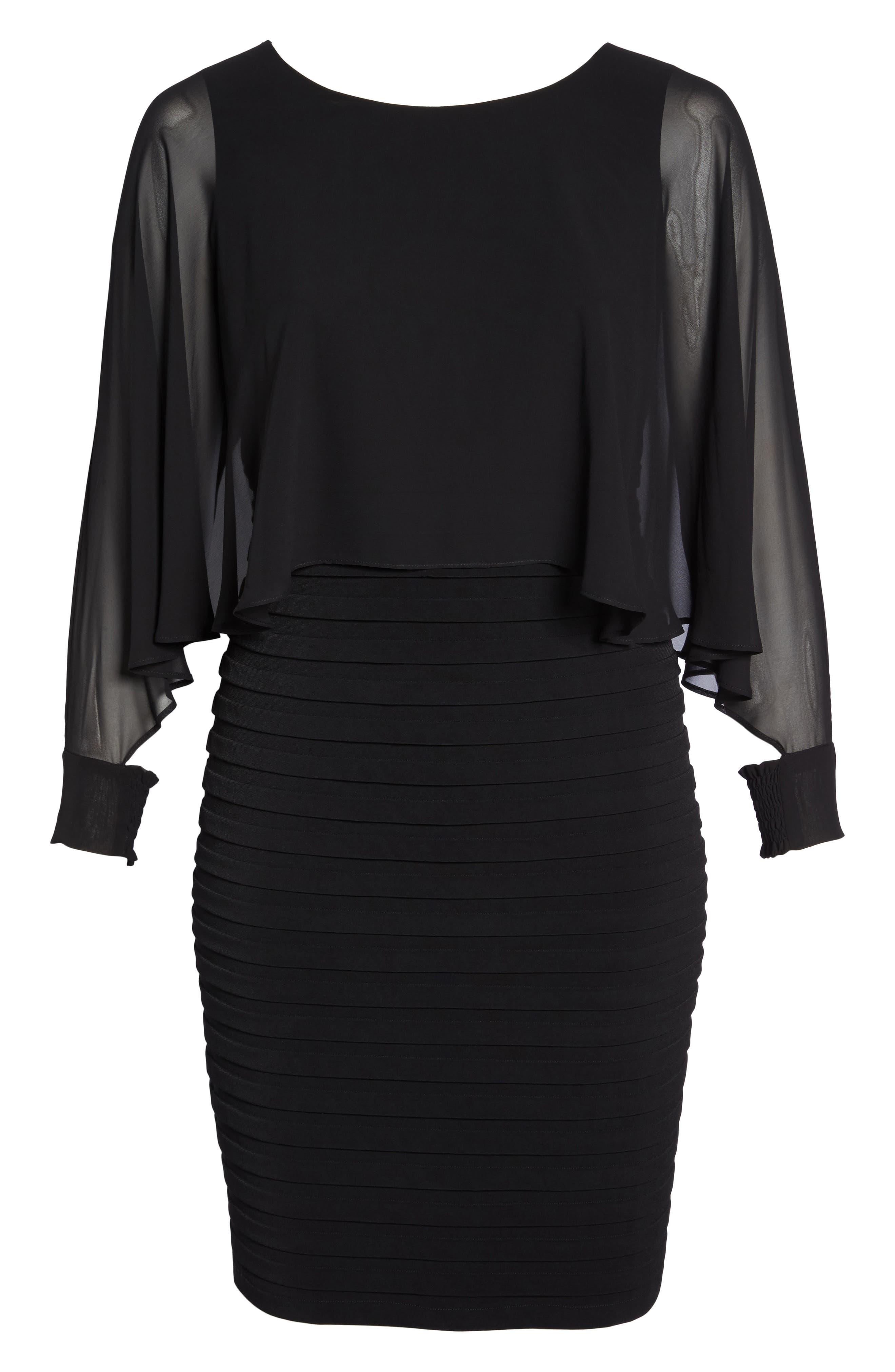 Matte Jersey Shutter Pleat Dress,                             Alternate thumbnail 6, color,                             Black