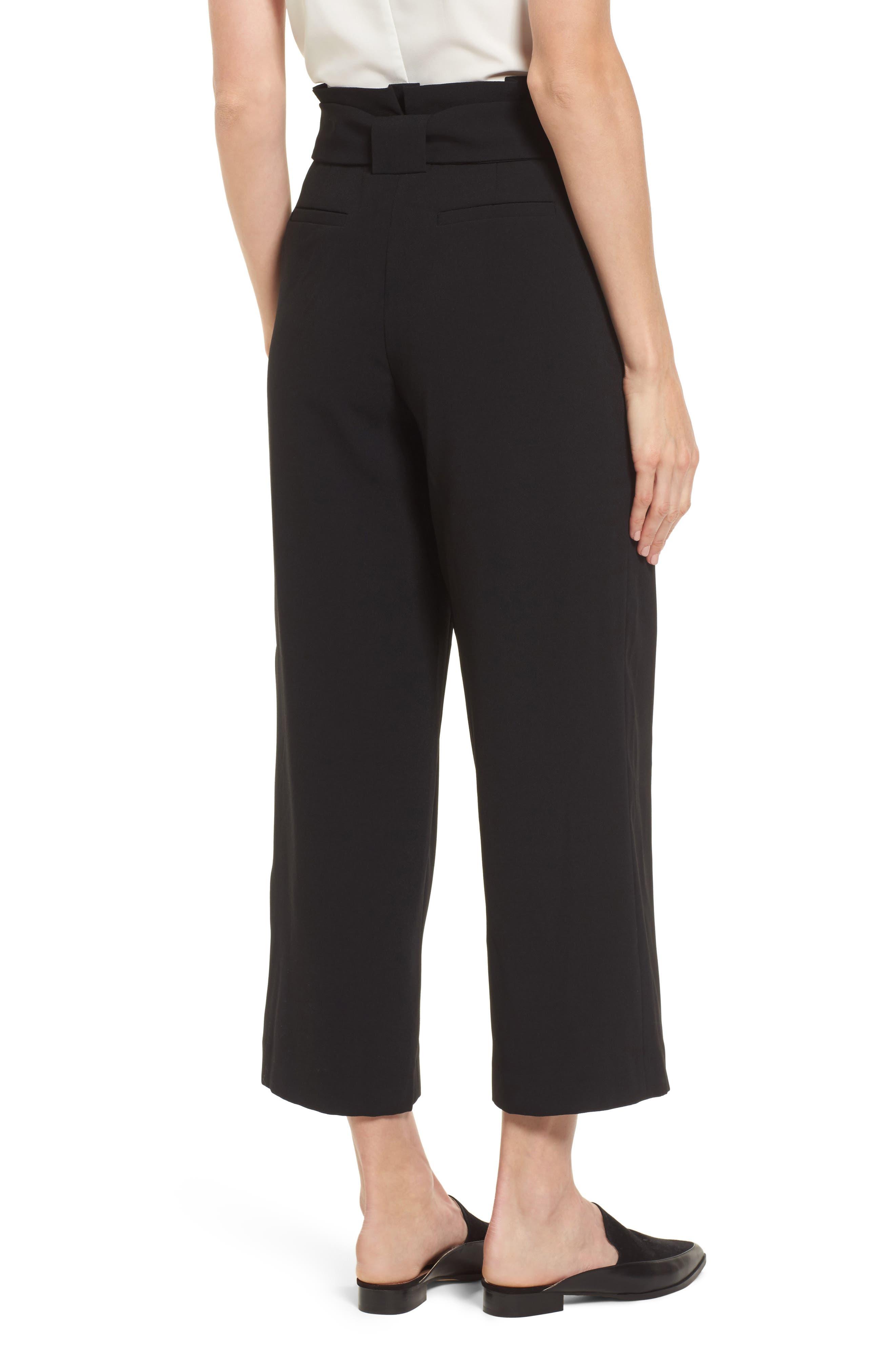 Belted Wide Leg Crop Pants,                             Alternate thumbnail 4, color,                             Black