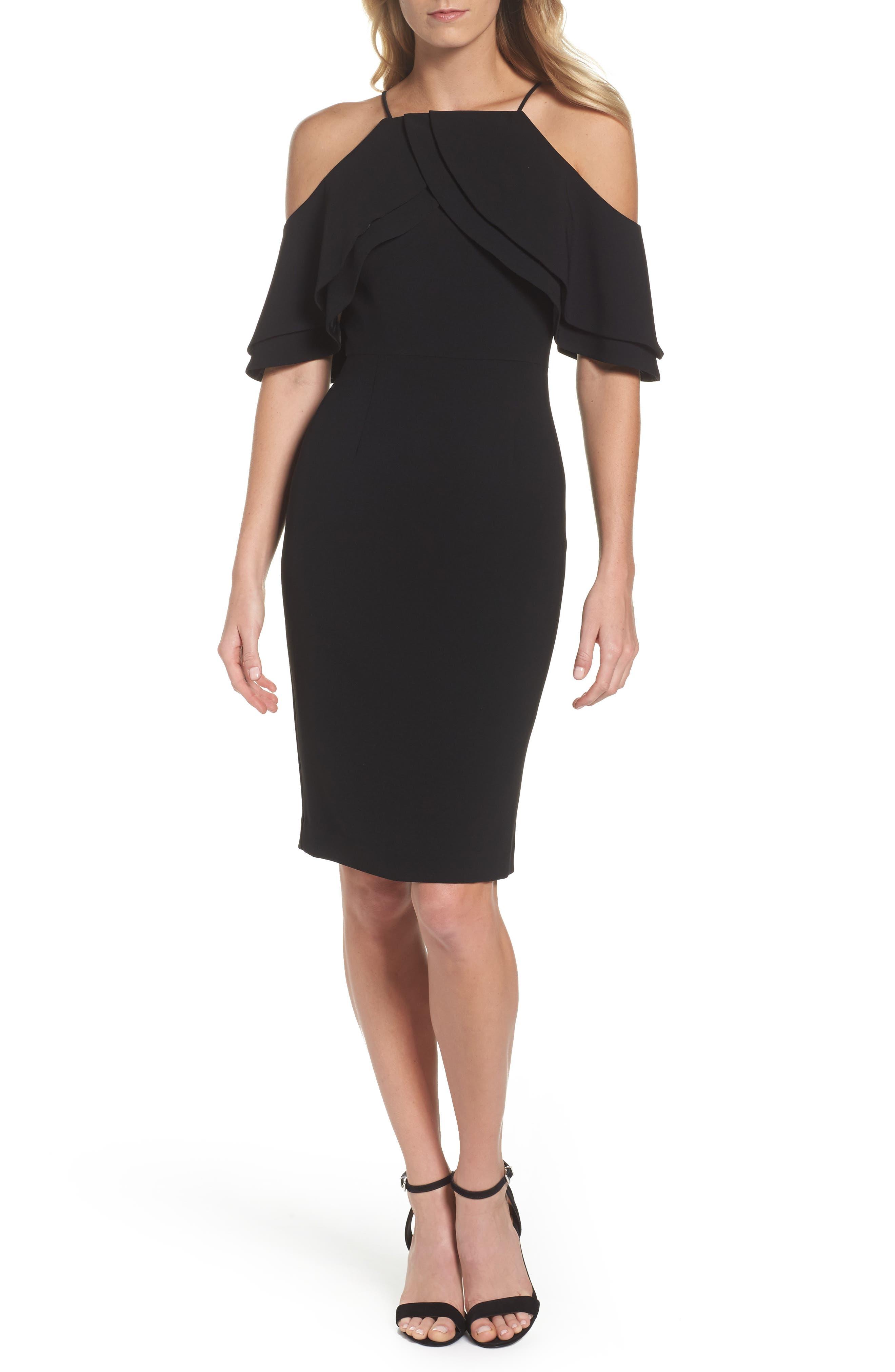 Double Ruffle Cold Shoulder Sheath Dress,                         Main,                         color, Black