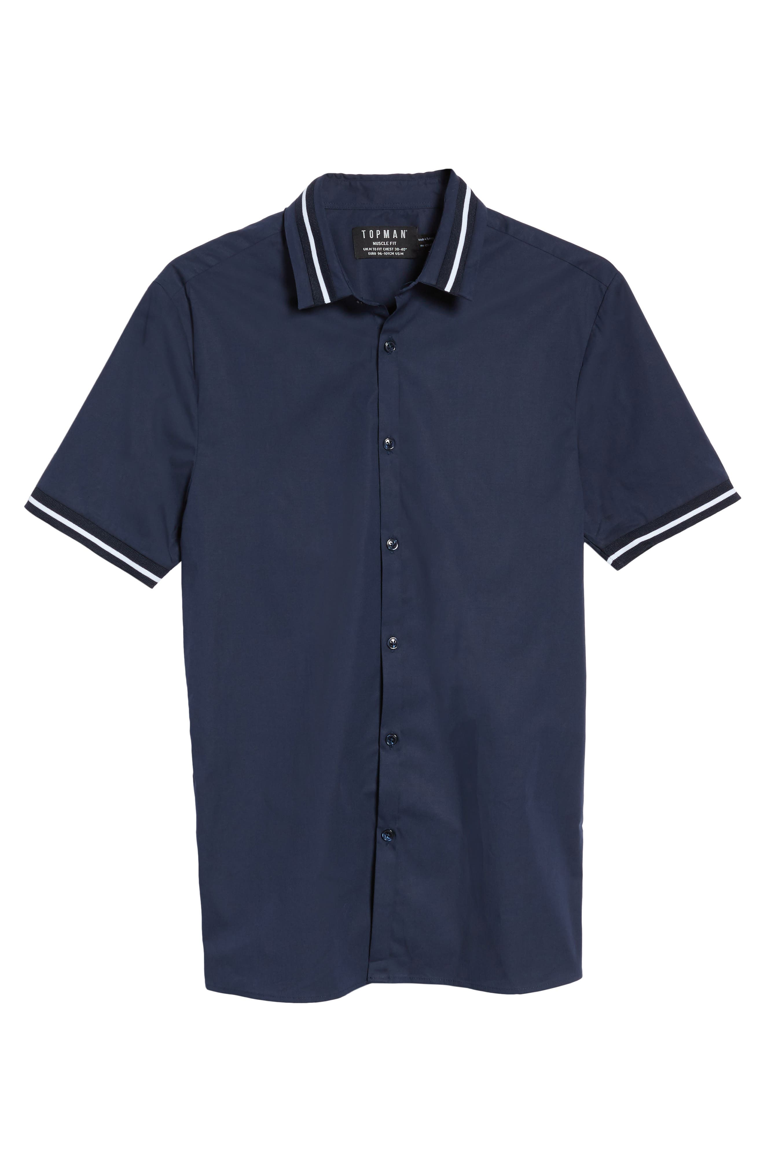 Alternate Image 6  - Topman Muscle Fit Stripe Tipped Shirt