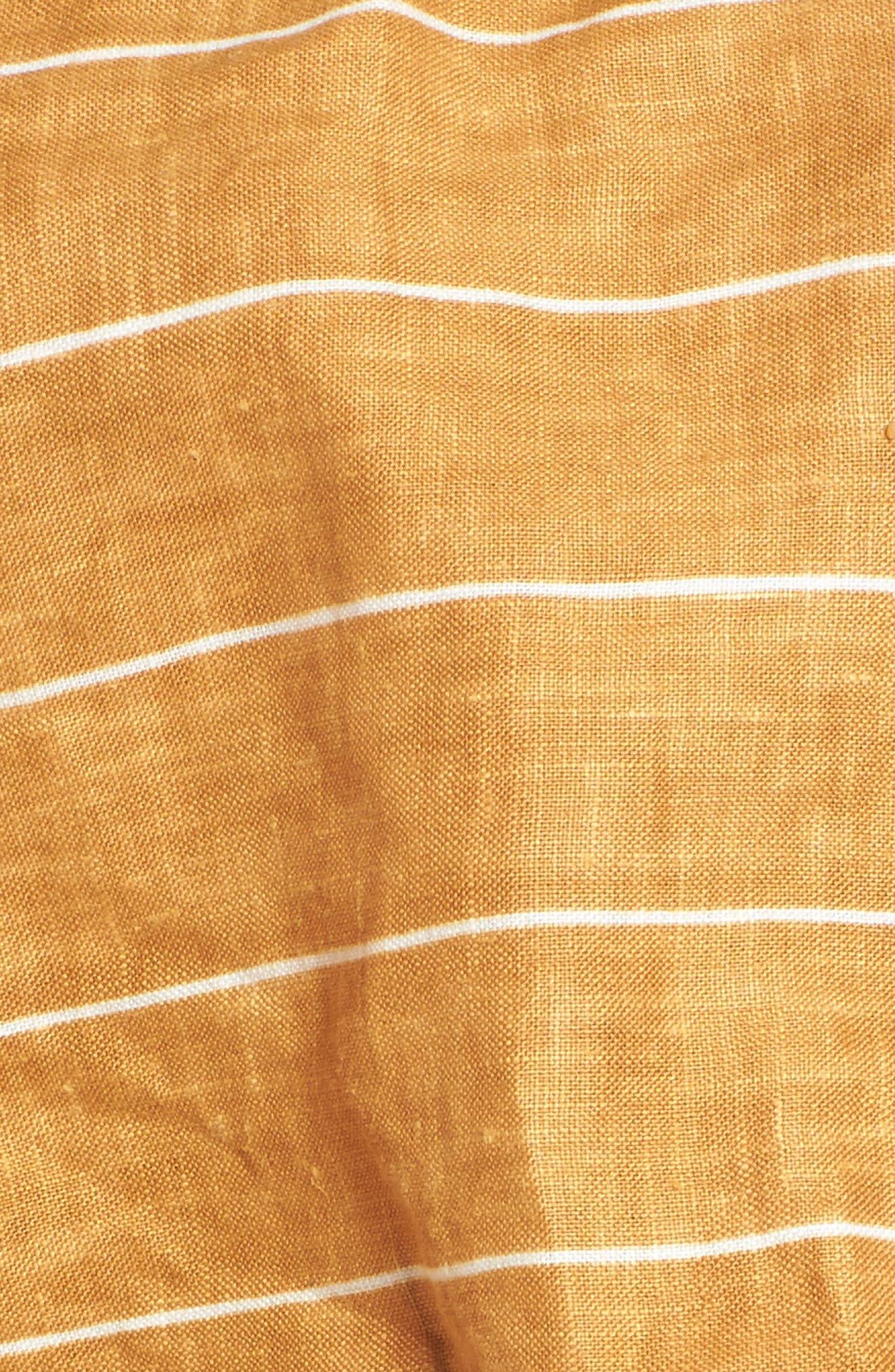 Solana Stripe Strapless Linen Crop Top,                             Alternate thumbnail 6, color,                             Copenhagen Stripe
