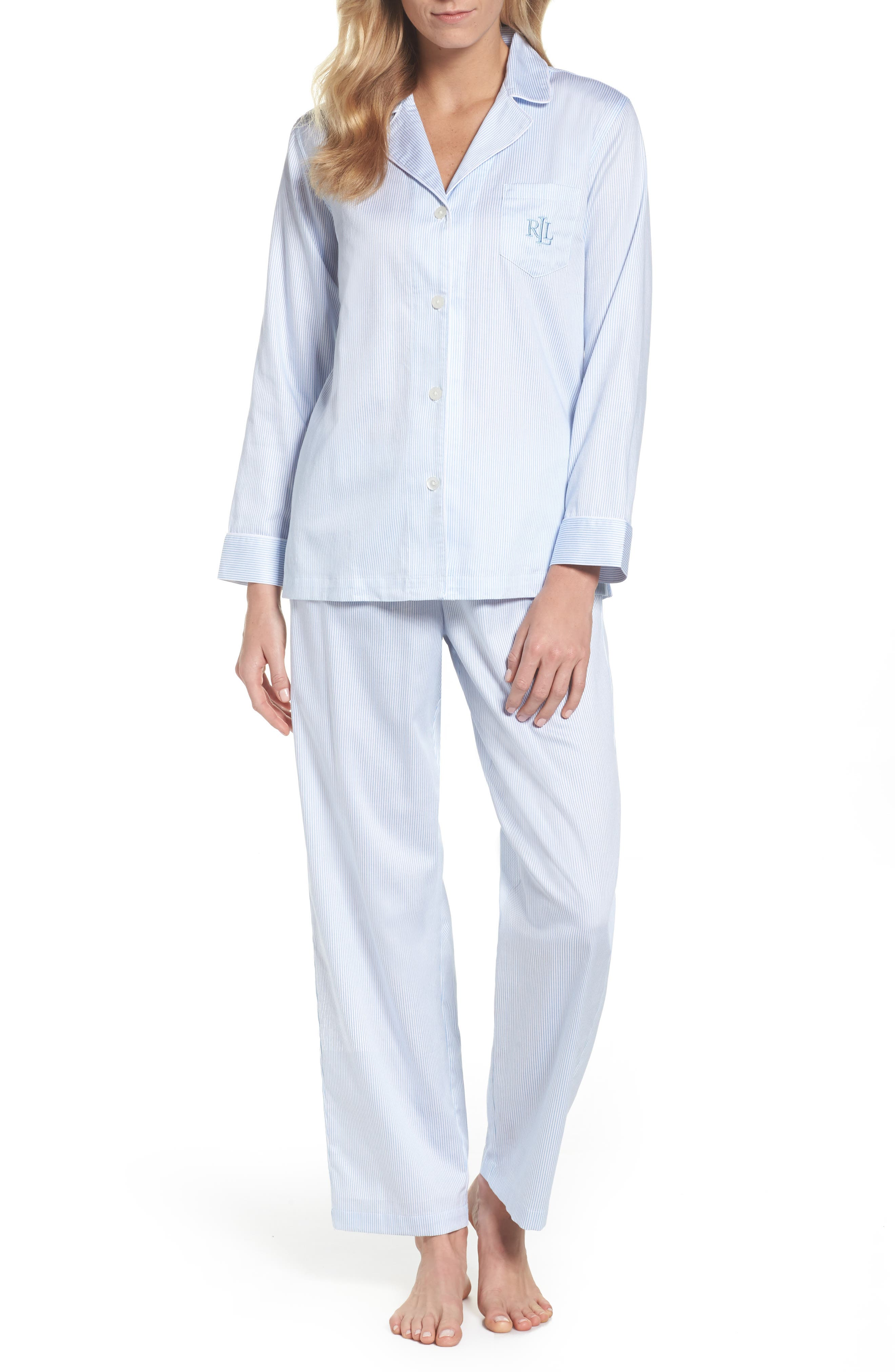 Alternate Image 1 Selected - Lauren Ralph Lauren Stripe Sateen Pajamas