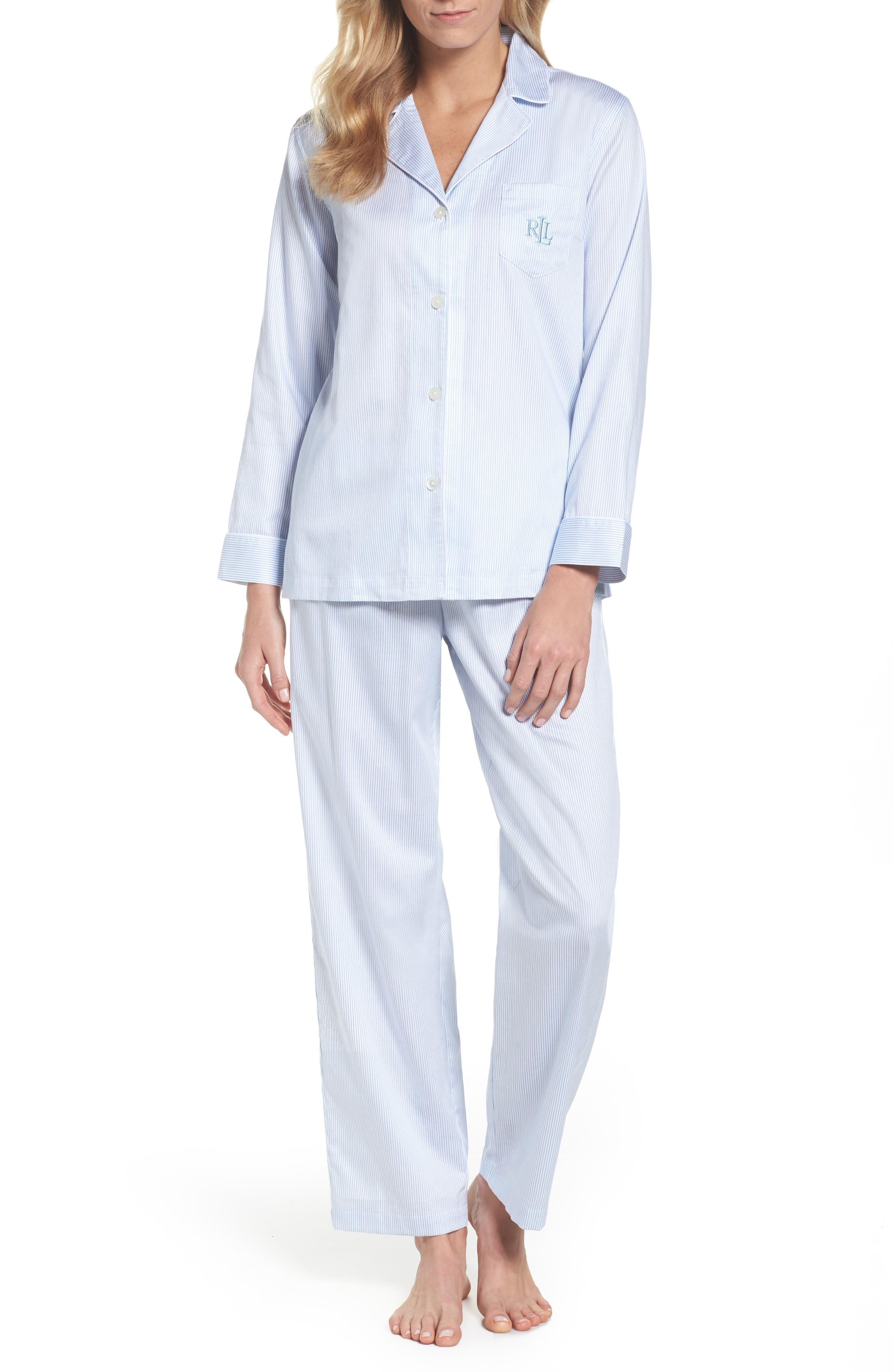Stripe Sateen Pajamas,                         Main,                         color, Light Blue Thin Stripe