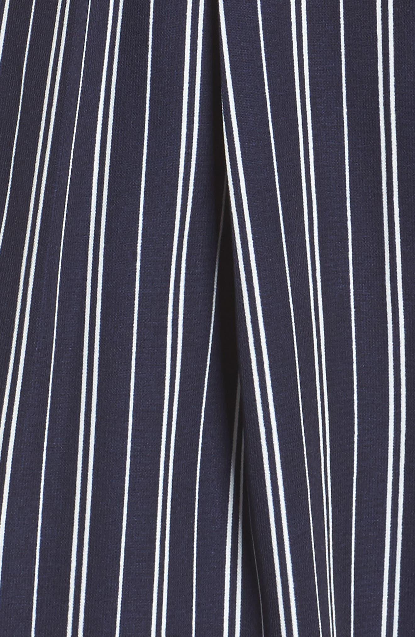Stripe Off the Shoulder Crop Jumpsuit,                             Alternate thumbnail 5, color,                             Navy Ivory Stripe
