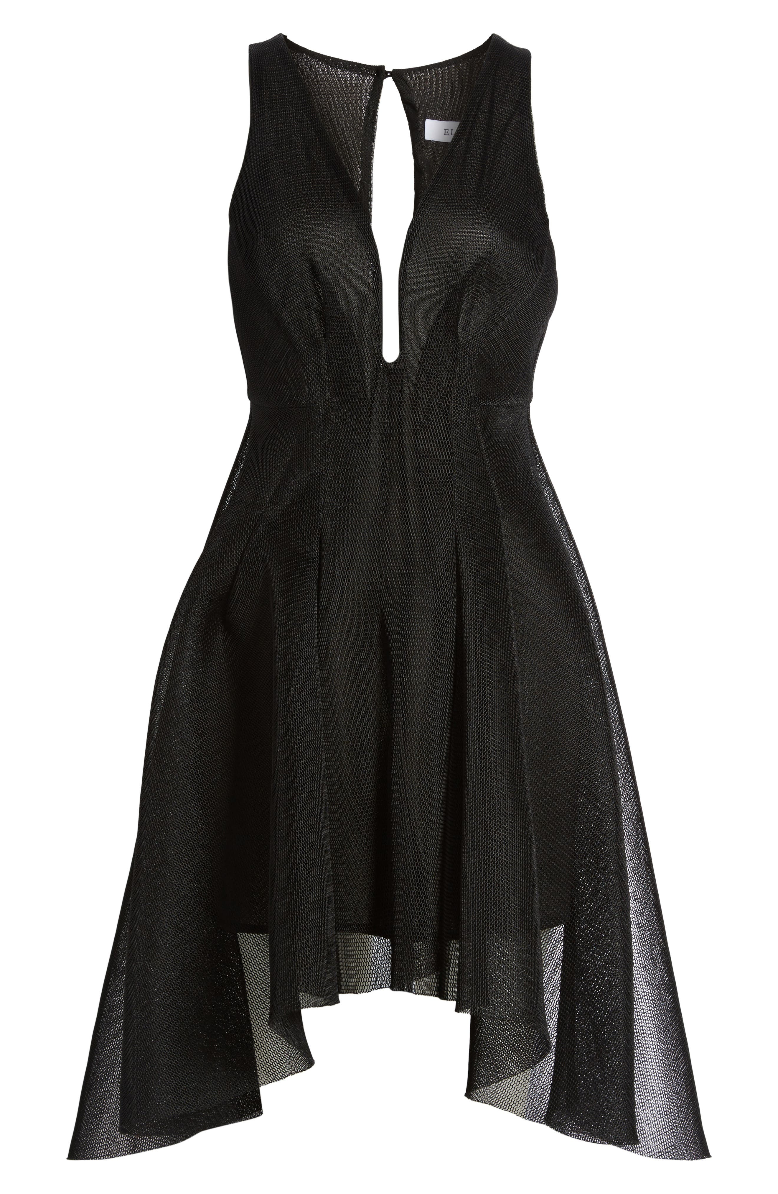 Jewel Fit & Flare Dress,                             Alternate thumbnail 6, color,                             Black