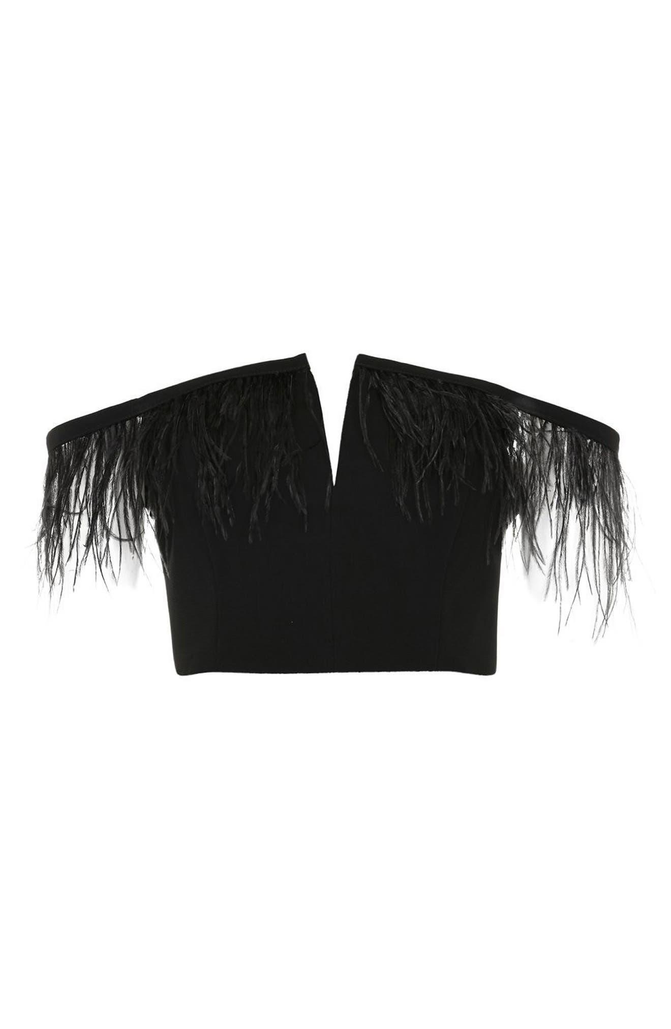 Feather Trim Off the Shoulder Crop Top,                             Alternate thumbnail 3, color,                             Black