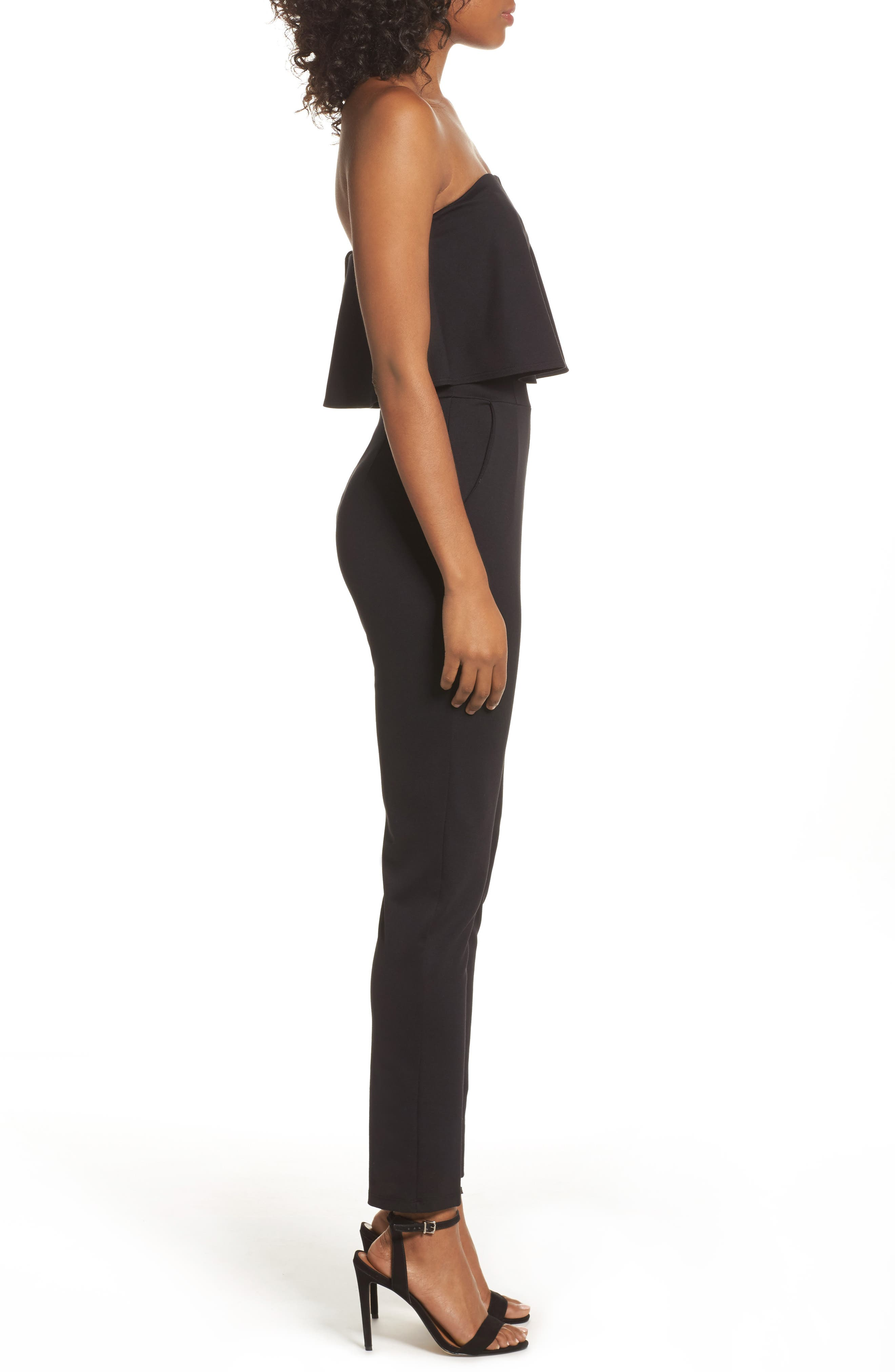 Strapless Ruffle Jumpsuit,                             Alternate thumbnail 3, color,                             Black