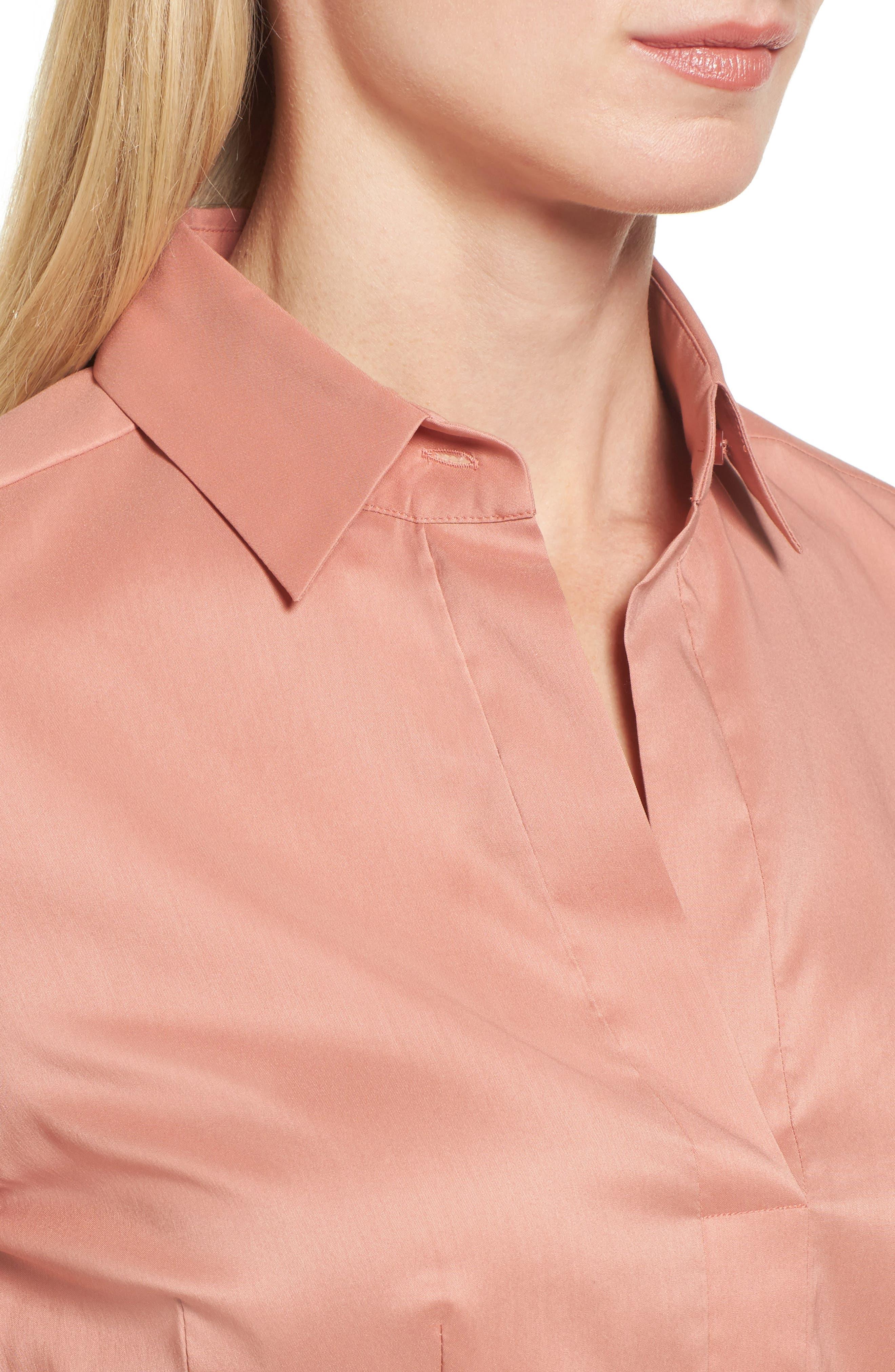 Bashina Fitted Stretch Poplin Shirt,                             Alternate thumbnail 4, color,                             Sand Rose