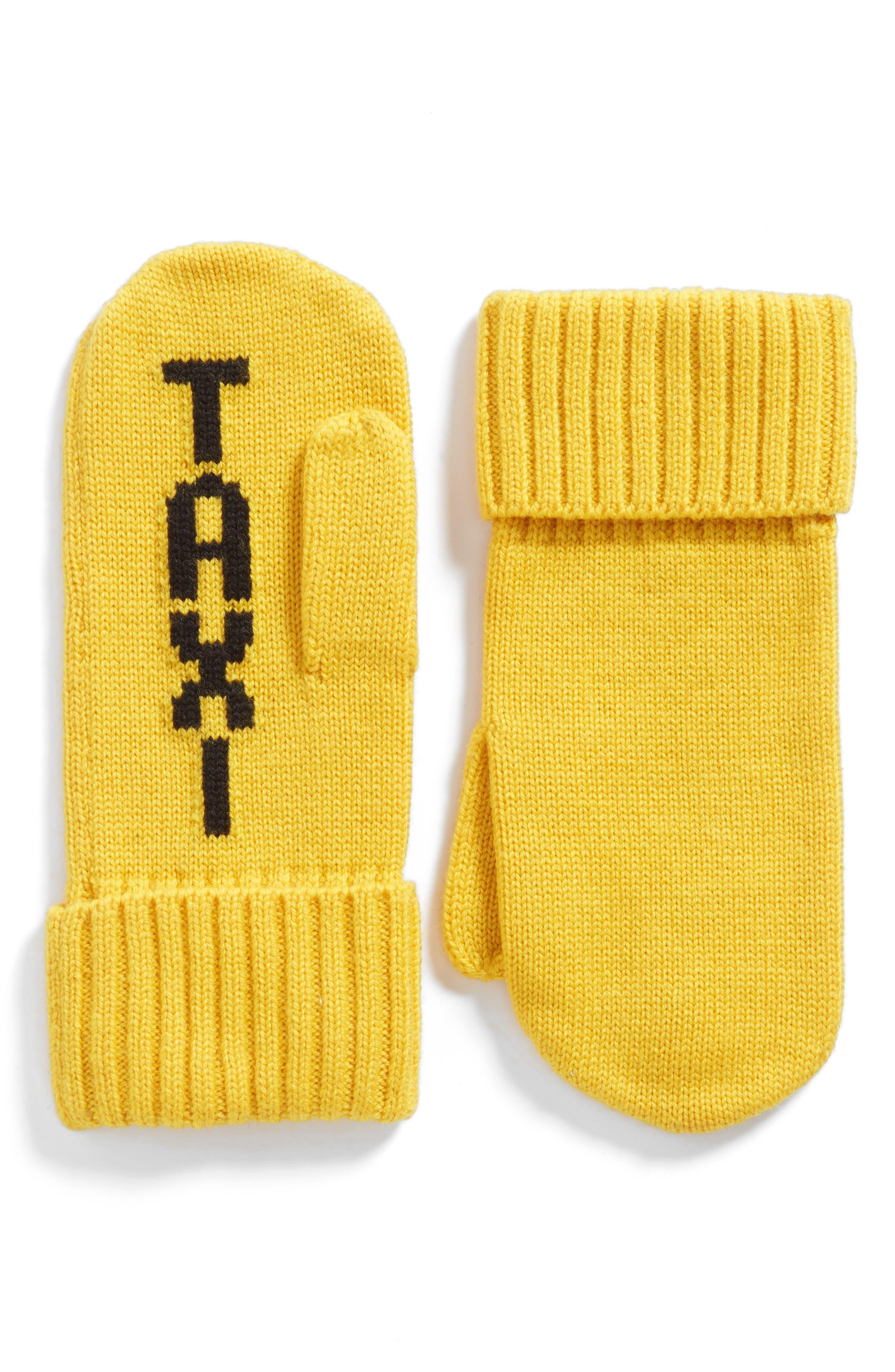 taxi mittens,                             Main thumbnail 1, color,                             Dandelion/Black