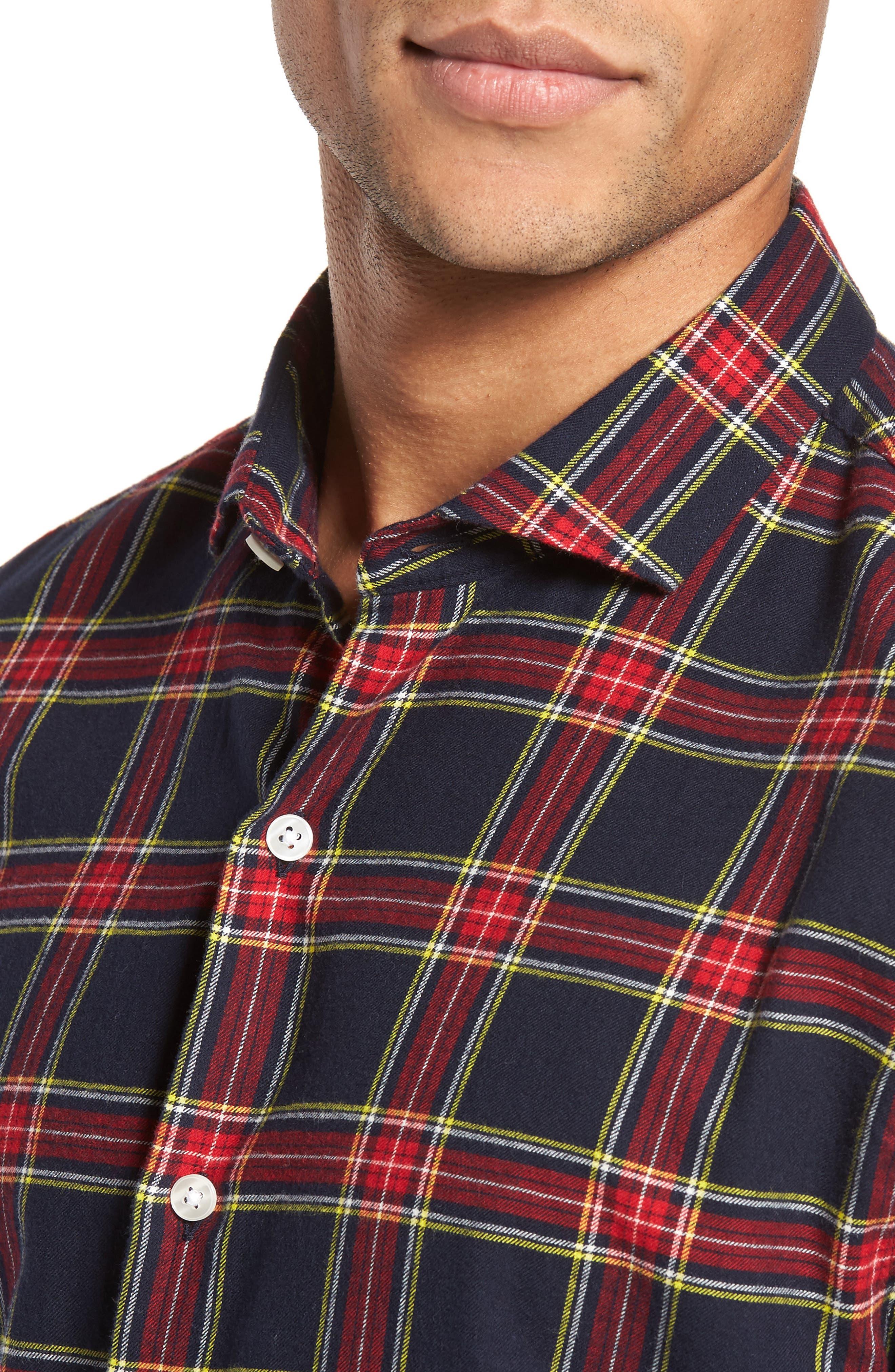 Unbutton Down Slim Fit Plaid Sport Shirt,                             Alternate thumbnail 4, color,                             Mohr Tartan/ Firecracker