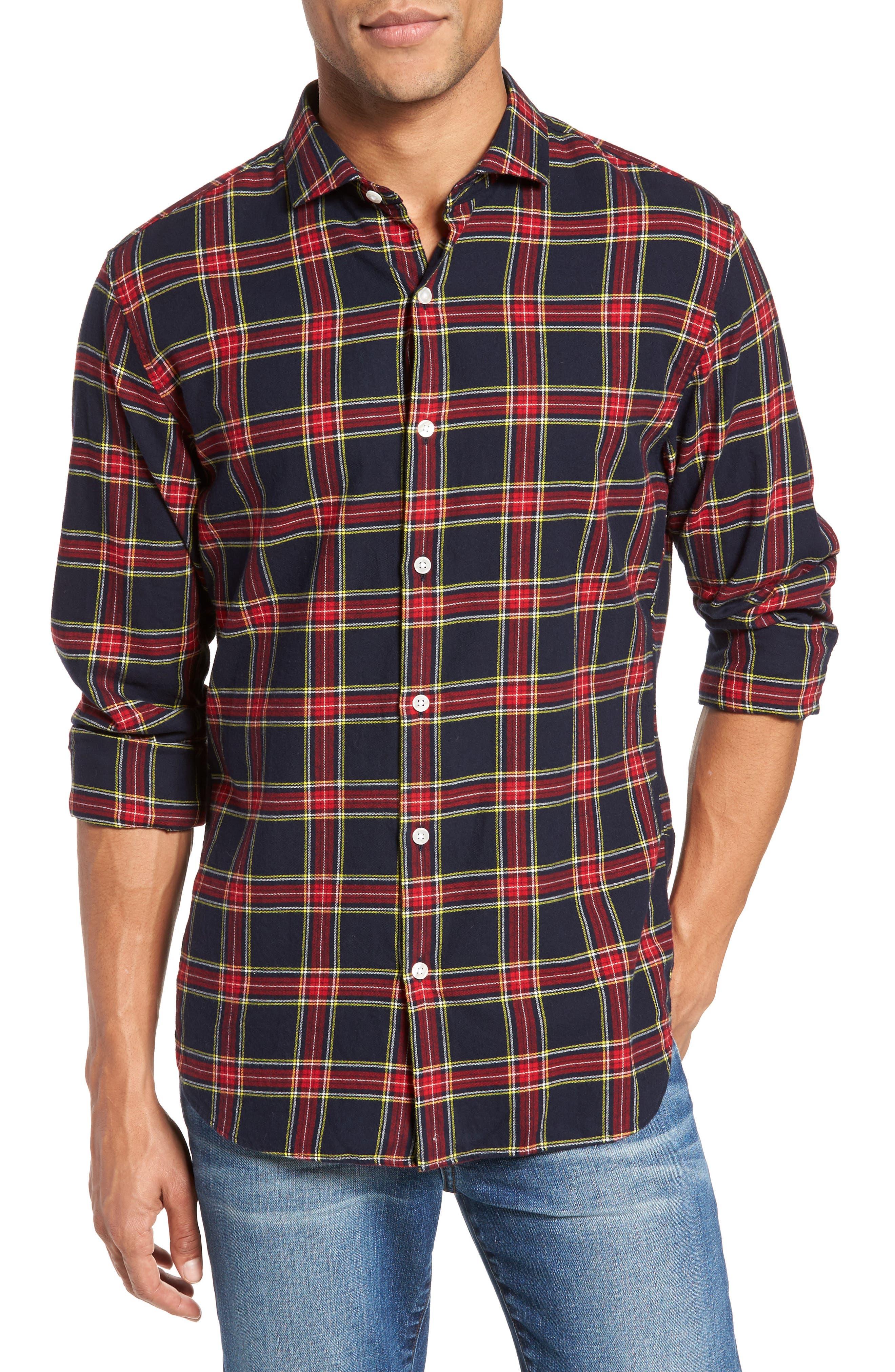Unbutton Down Slim Fit Plaid Sport Shirt,                         Main,                         color, Mohr Tartan/ Firecracker