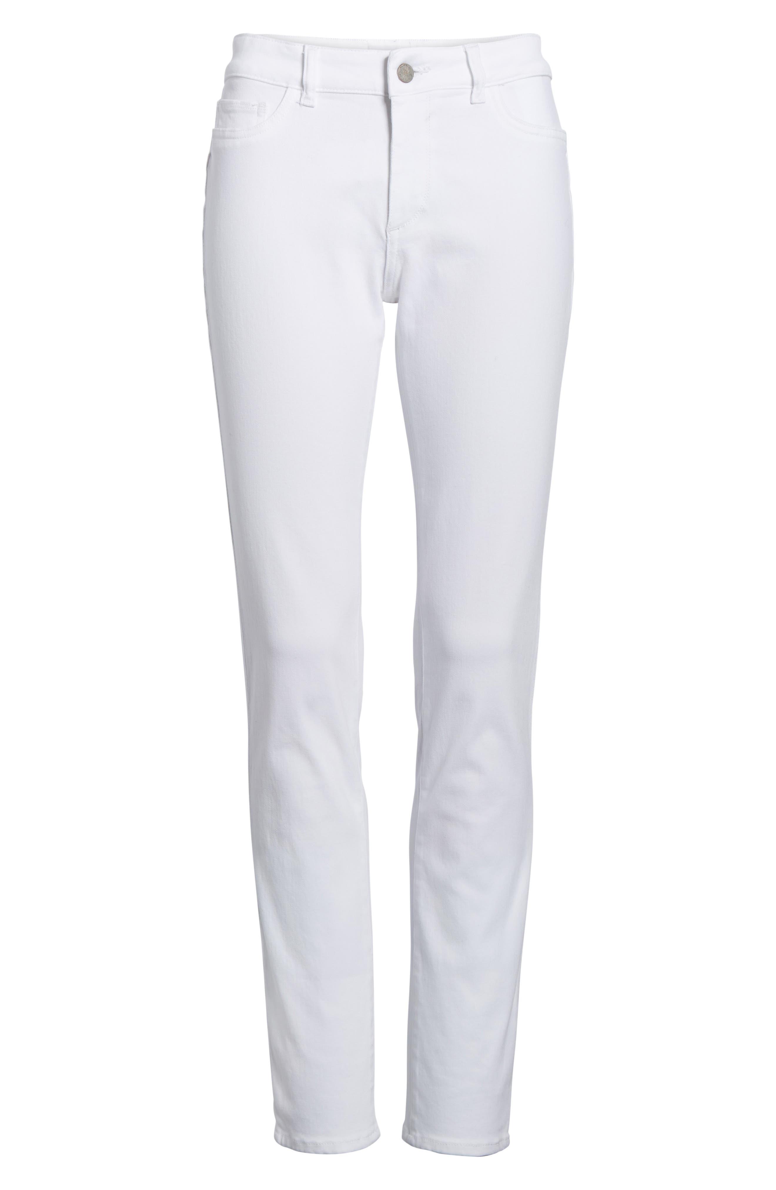 Alternate Image 6  - DL1961 Florence Skinny Jeans (Porcelain)