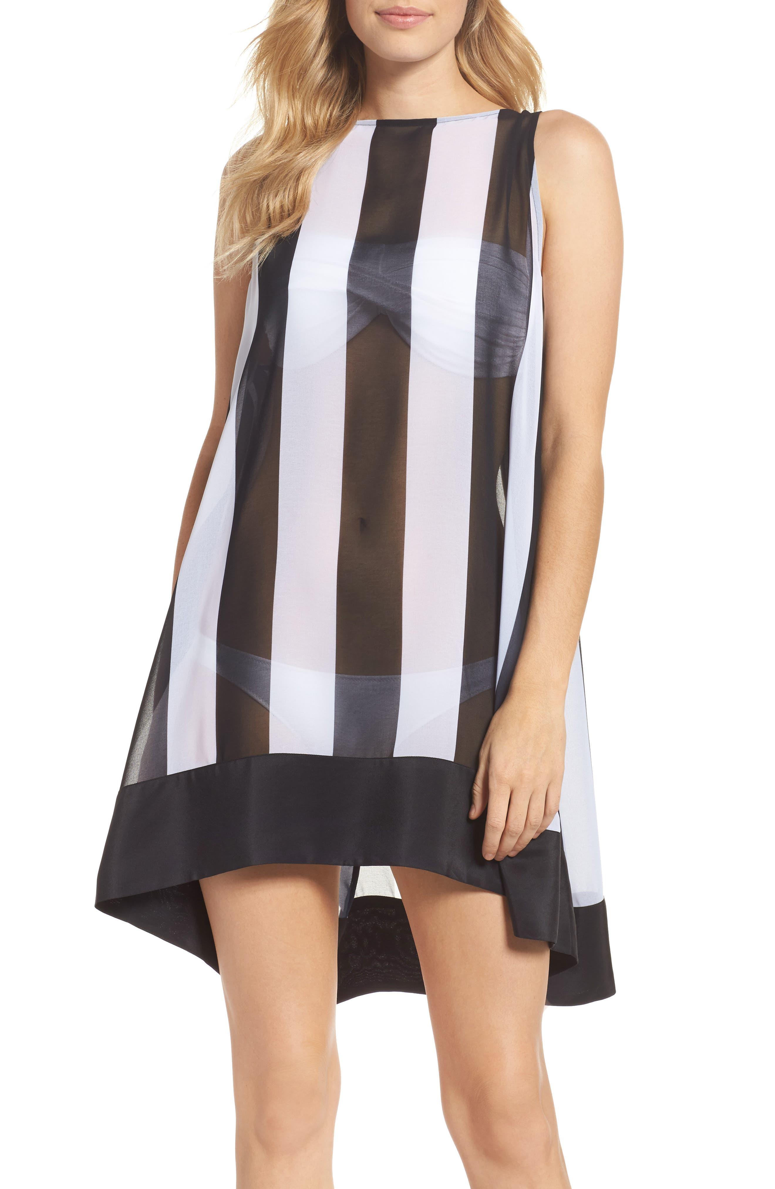 Monochrome Stripe Cover-Up Dress,                             Main thumbnail 1, color,                             Black