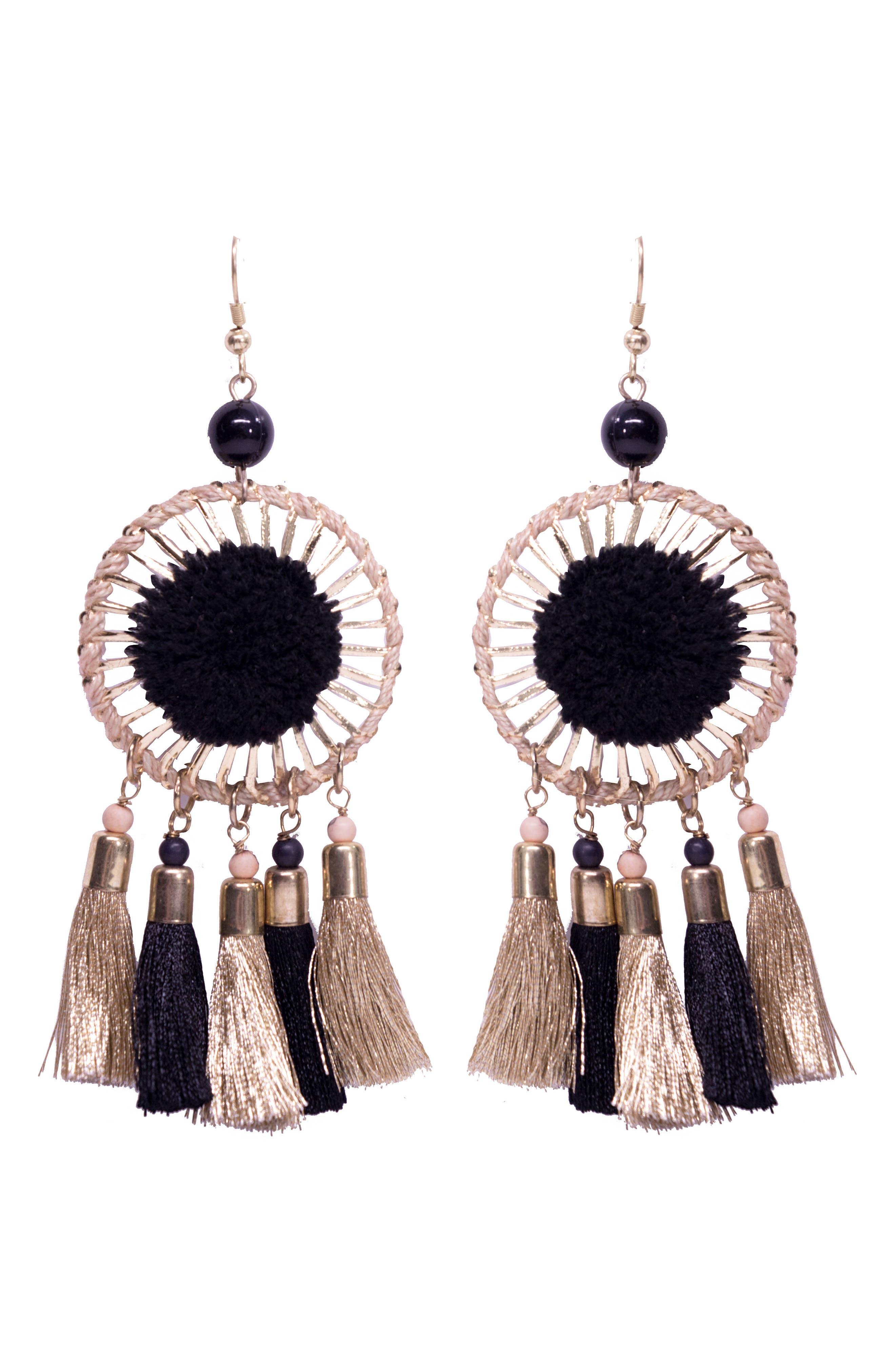 Nolita Statement Earrings,                             Main thumbnail 1, color,                             Gold/ Black