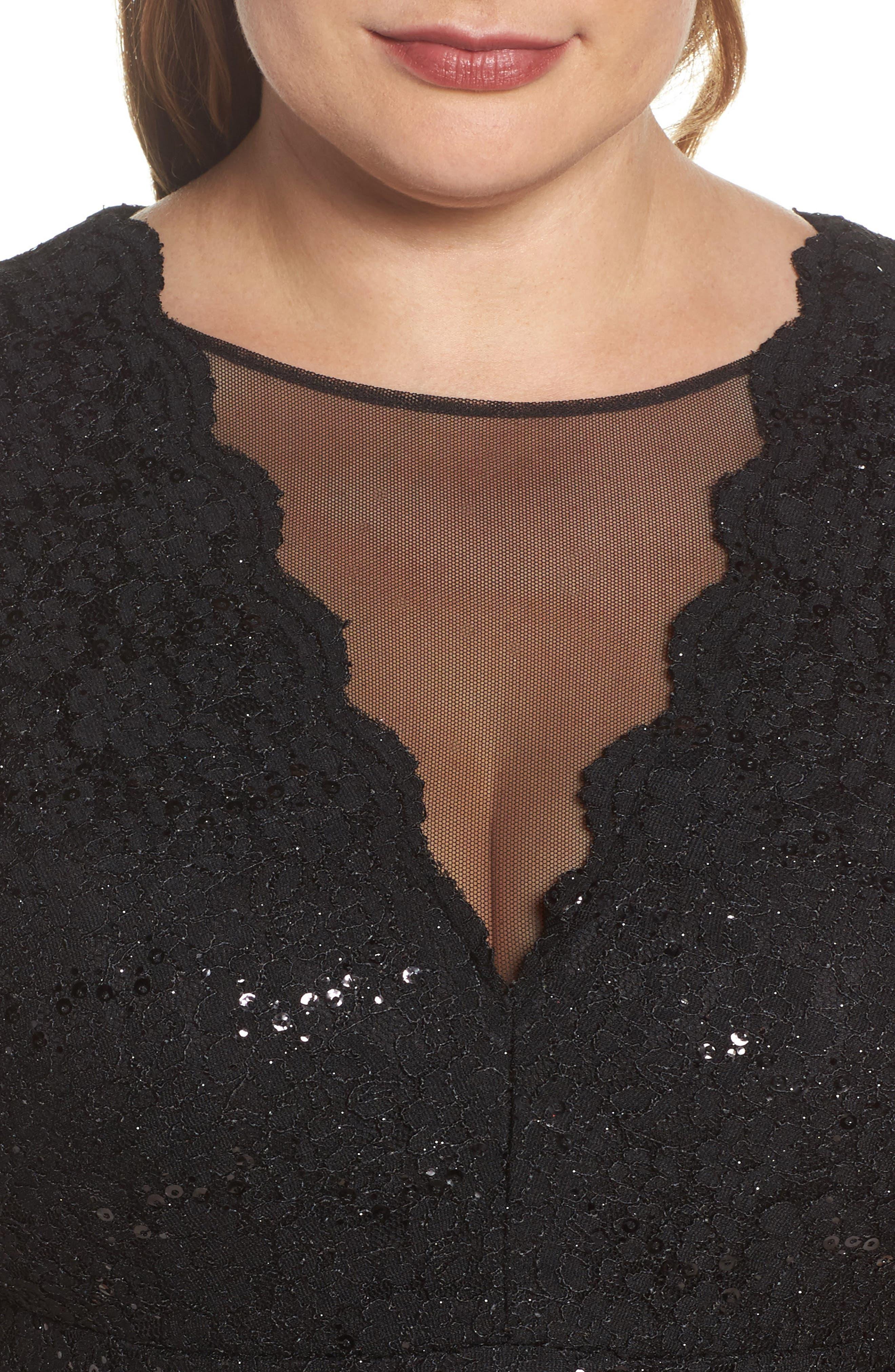 Sequin Lace & Mesh Body-Con Dress,                             Alternate thumbnail 4, color,                             Black