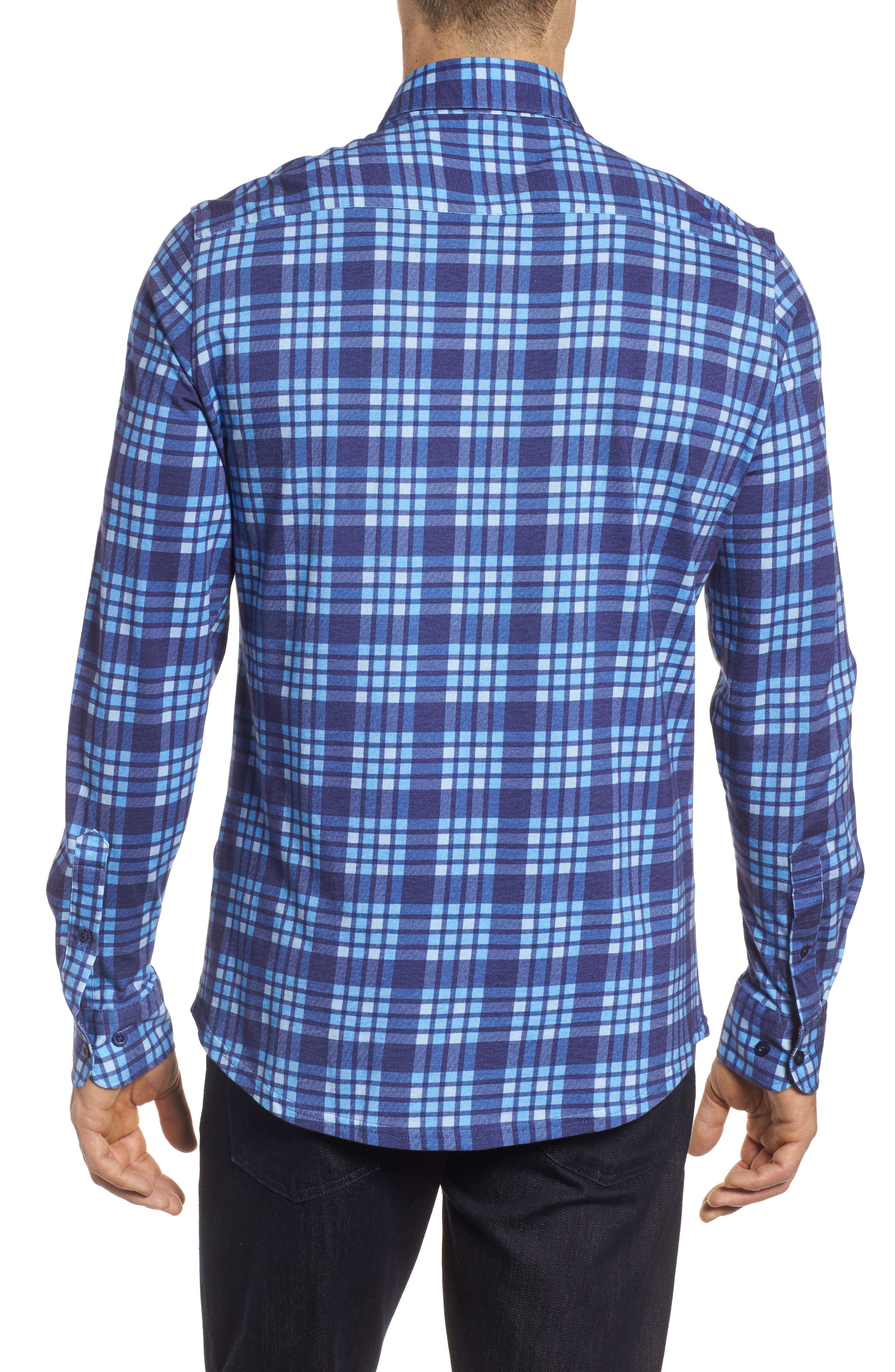 Plaid Print Jersey Shirt,                             Alternate thumbnail 2, color,                             Navy