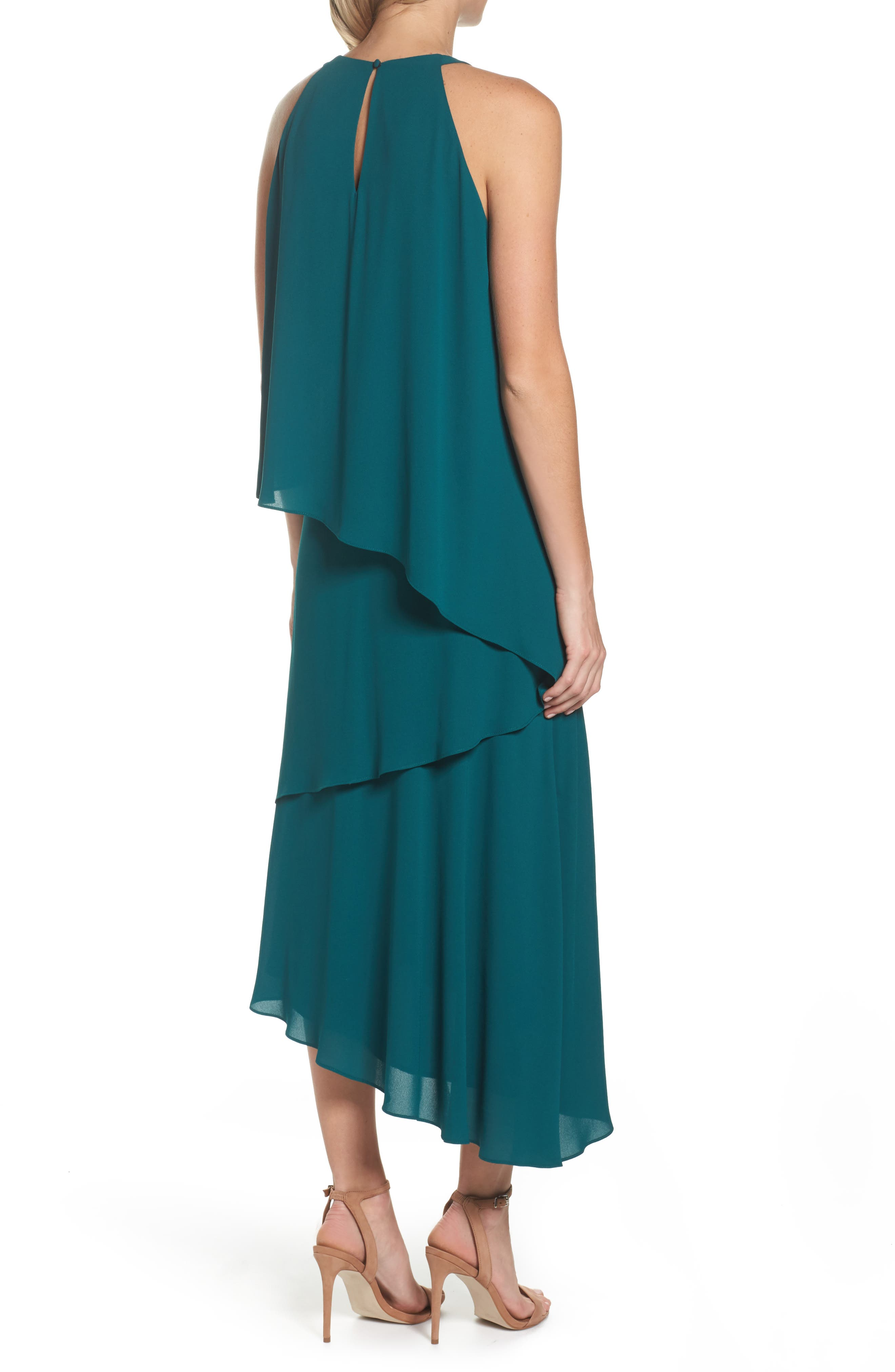 Georgette Asymmetric Dress,                             Alternate thumbnail 2, color,                             Hunter