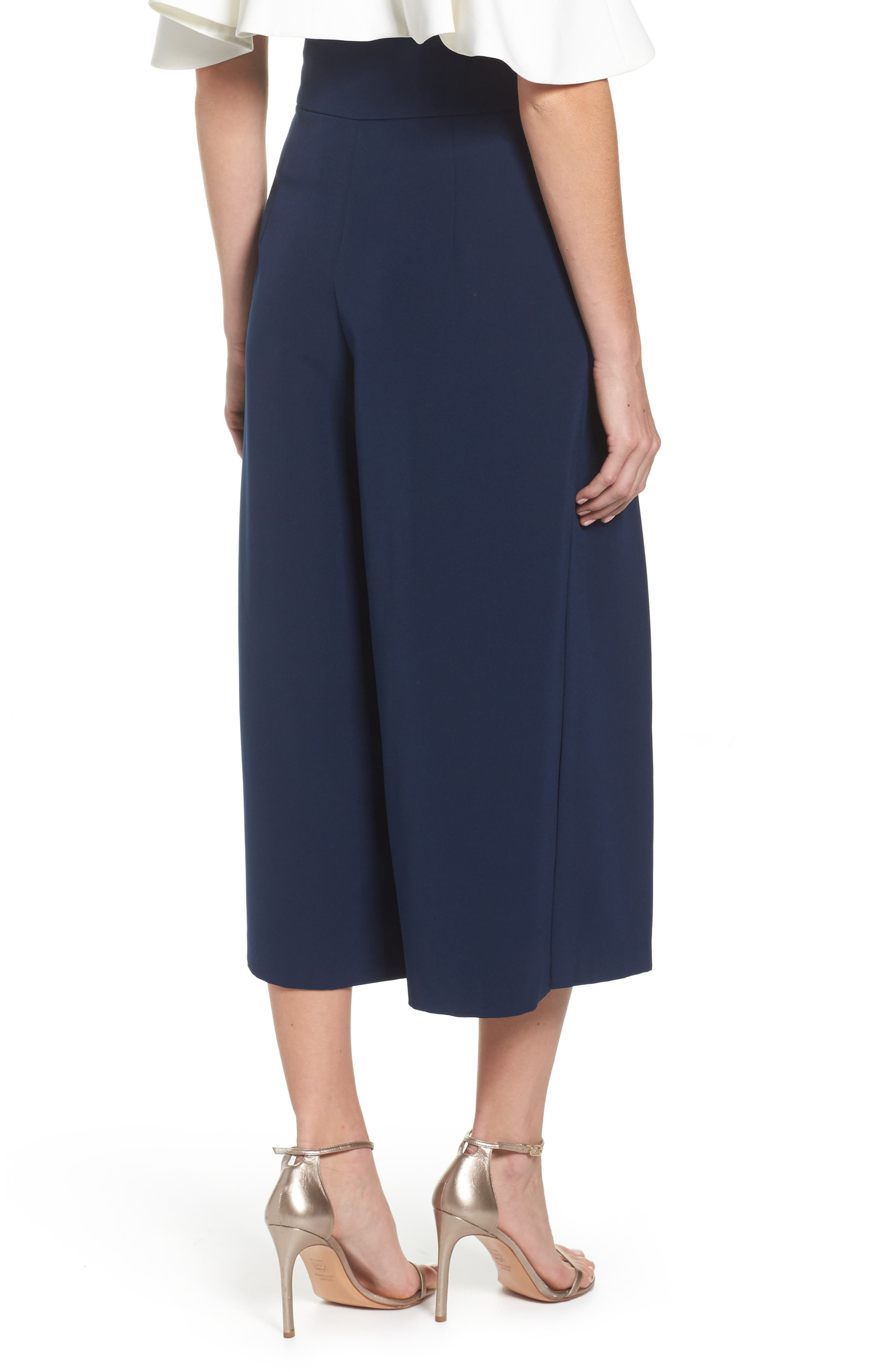 Pleated Wide Leg Pants,                             Alternate thumbnail 2, color,                             Navy