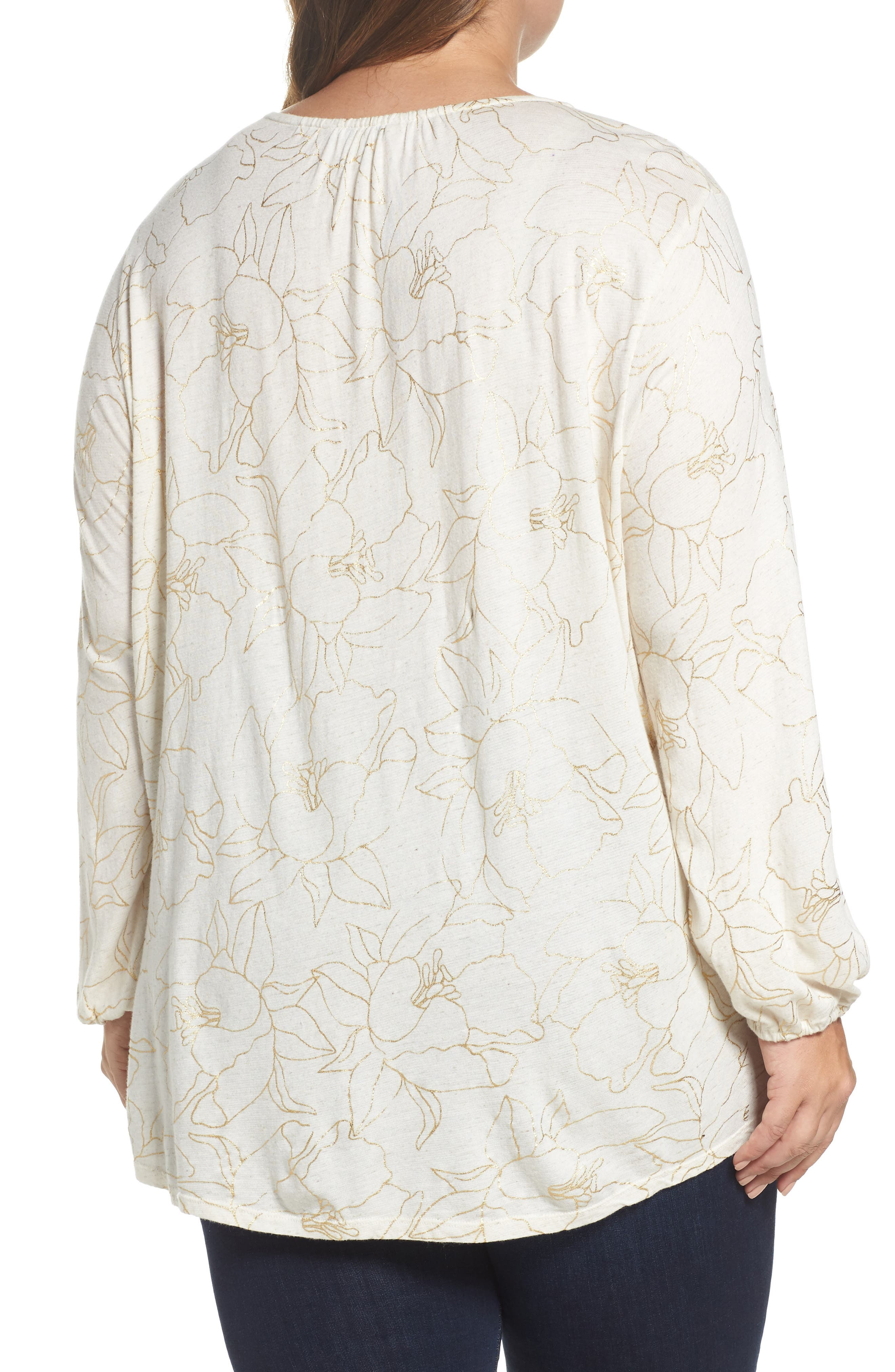 Alternate Image 2  - Lucky Brand Embroidered Foil Print Top (Plus Size)