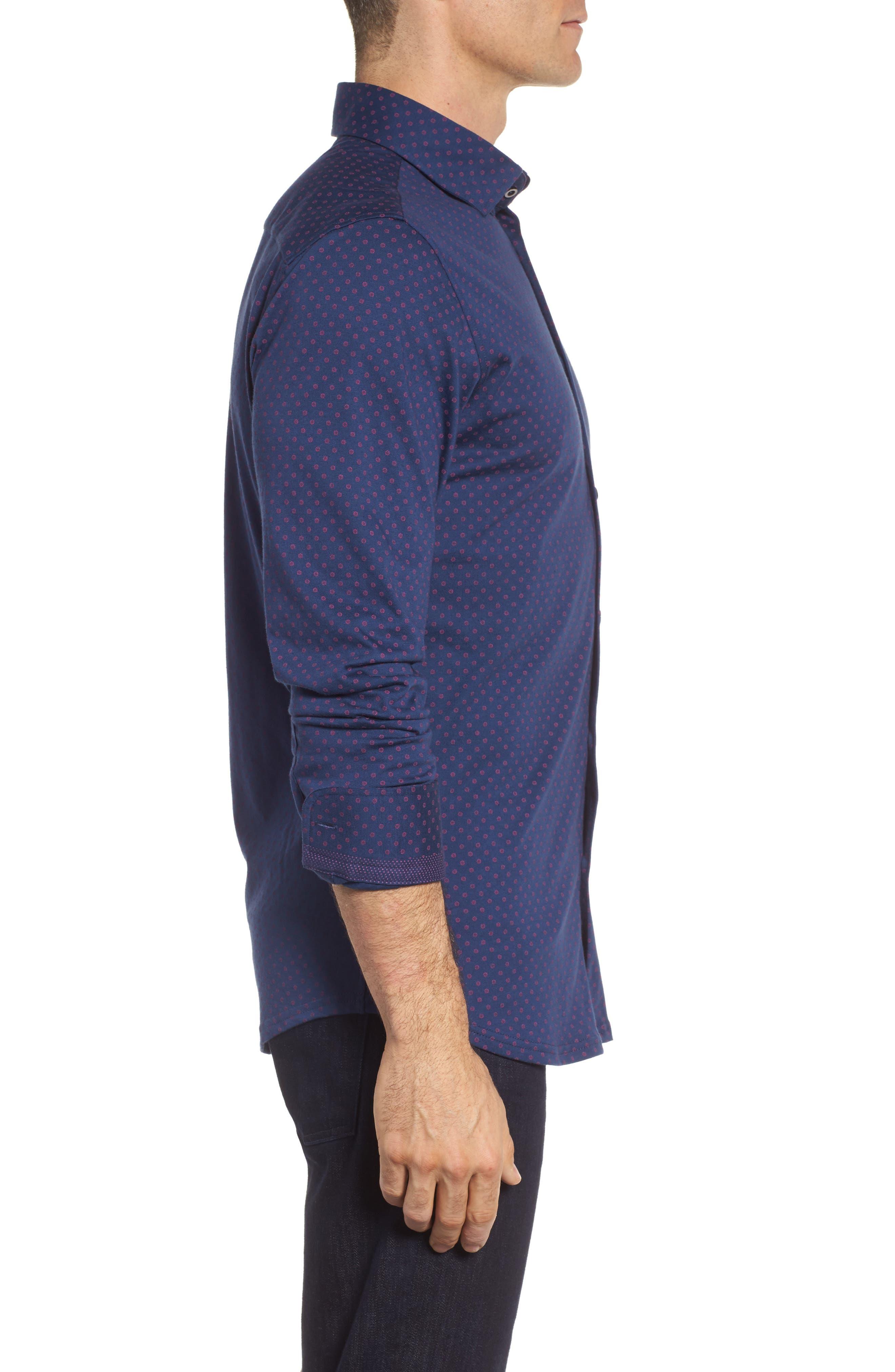 Ship Wheel Knit Sport Shirt,                             Alternate thumbnail 3, color,                             Navy