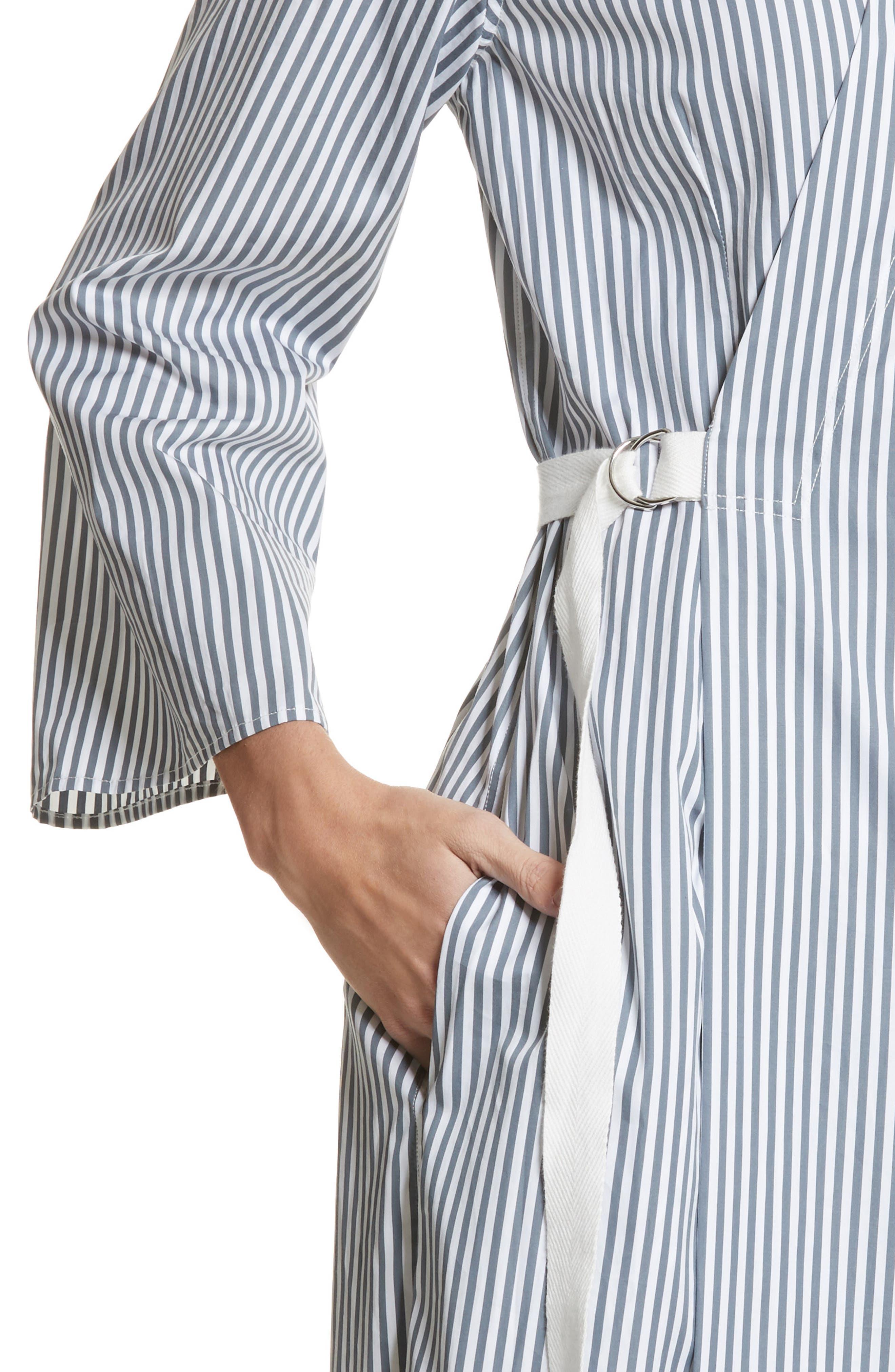 Candy Stripe Midi Dress,                             Alternate thumbnail 4, color,                             Ink