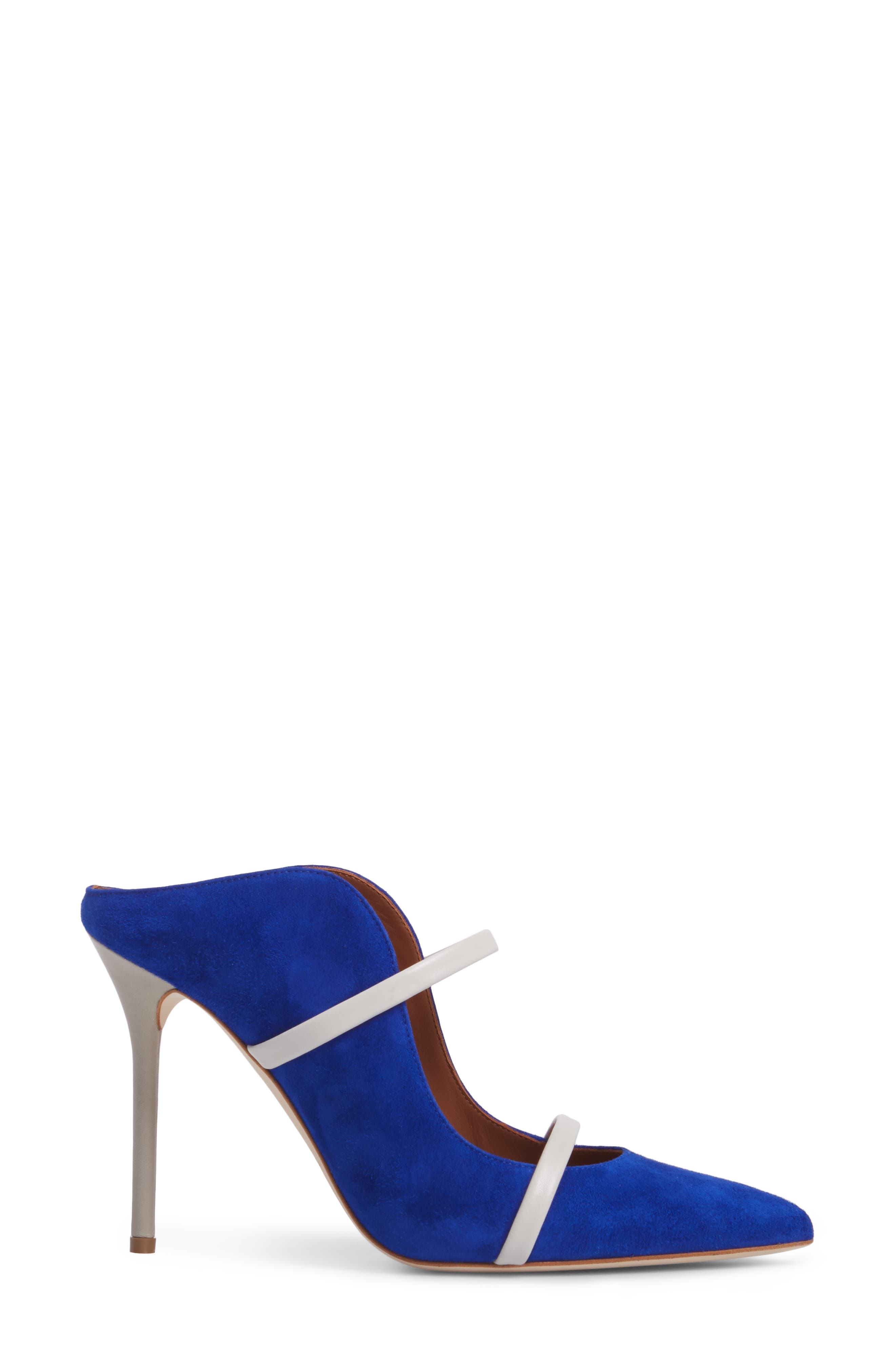 Maureen Double Band Mule,                             Alternate thumbnail 3, color,                             Electric Blue/ Foam/ Grey